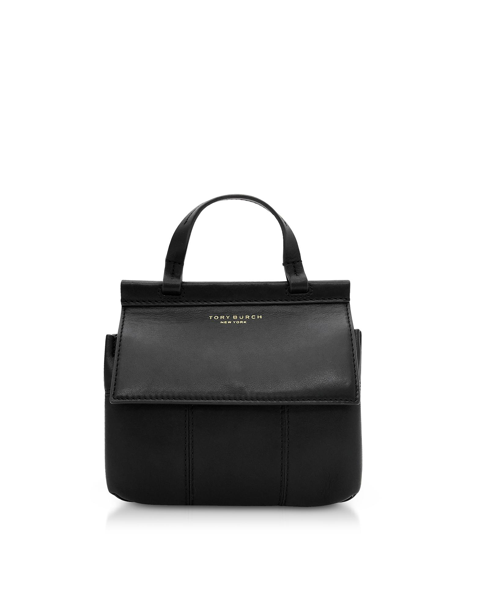 f833d8bf5be6 Lyst - Tory Burch Black Genuine Leather Block-t Mini Satchel Bag in ...