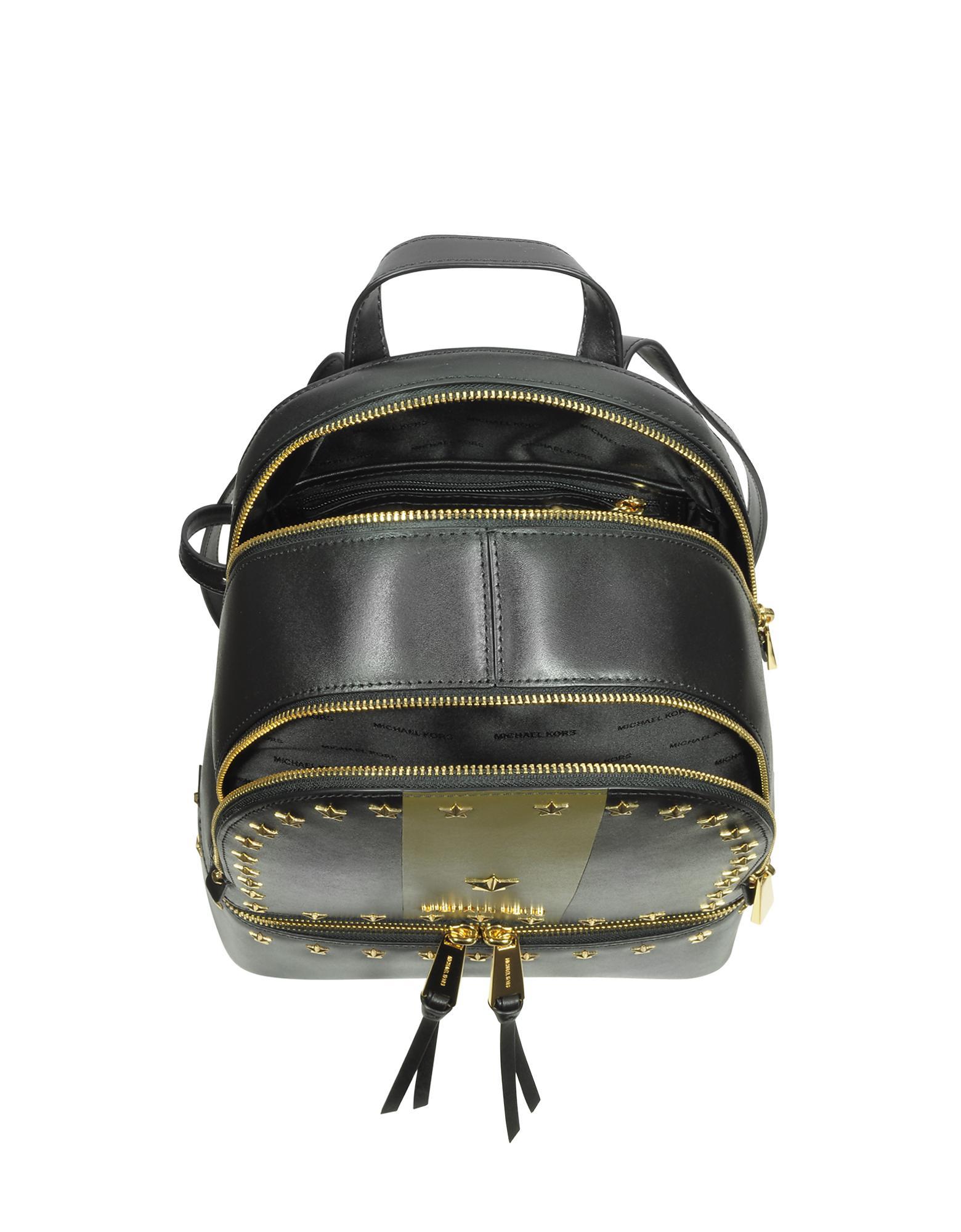 c1bb7204b5aa Lyst - Michael Kors Rhea Zip Medium Black And Olive Leather Backpack ...