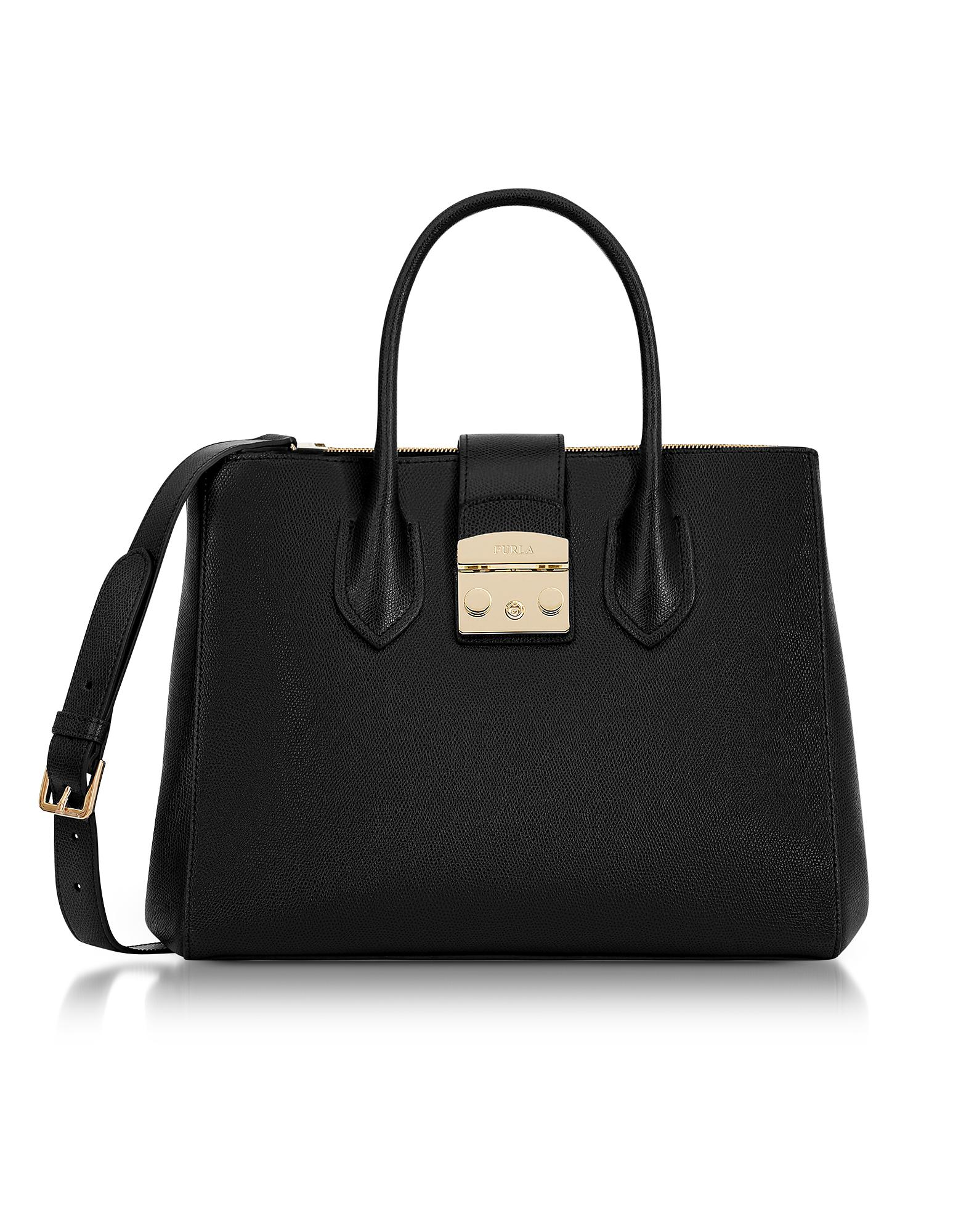 Furla Onyx Metropolis Medium Tote Bag in Black - Lyst da7ec943bcf