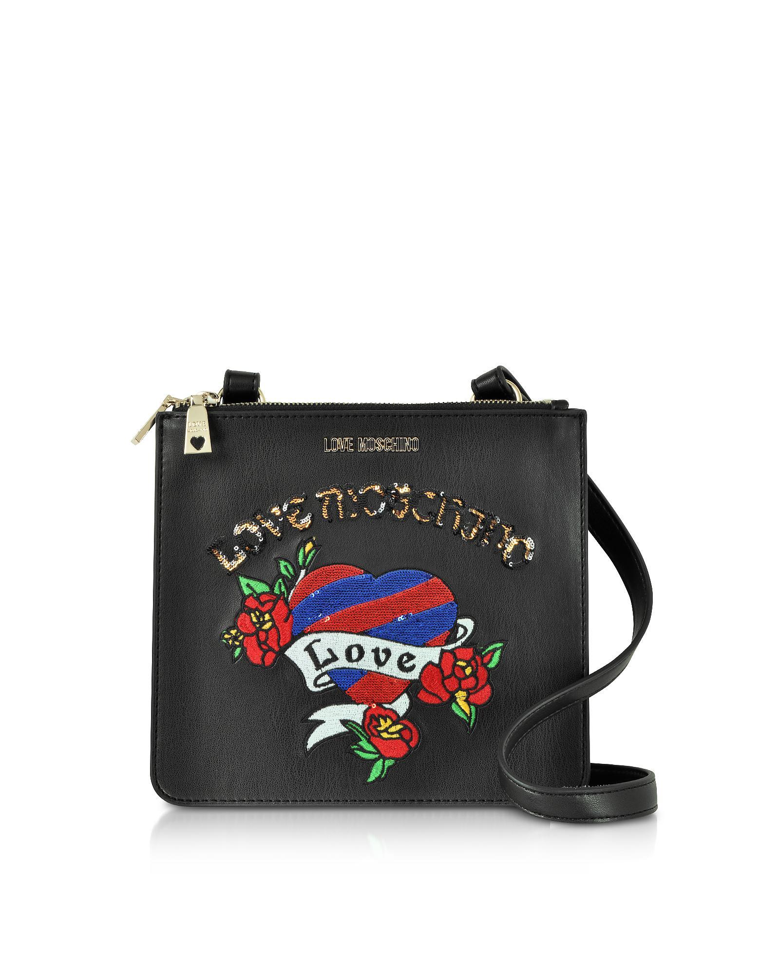 7436e3e1d81 Love Moschino - Black Love Embroidered Shoulder Bag - Lyst. View fullscreen