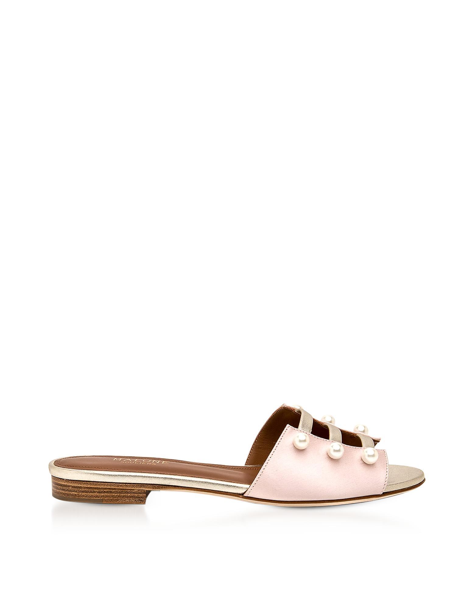 MALONE SOULIERS Zelda Embellished Satin Sandals