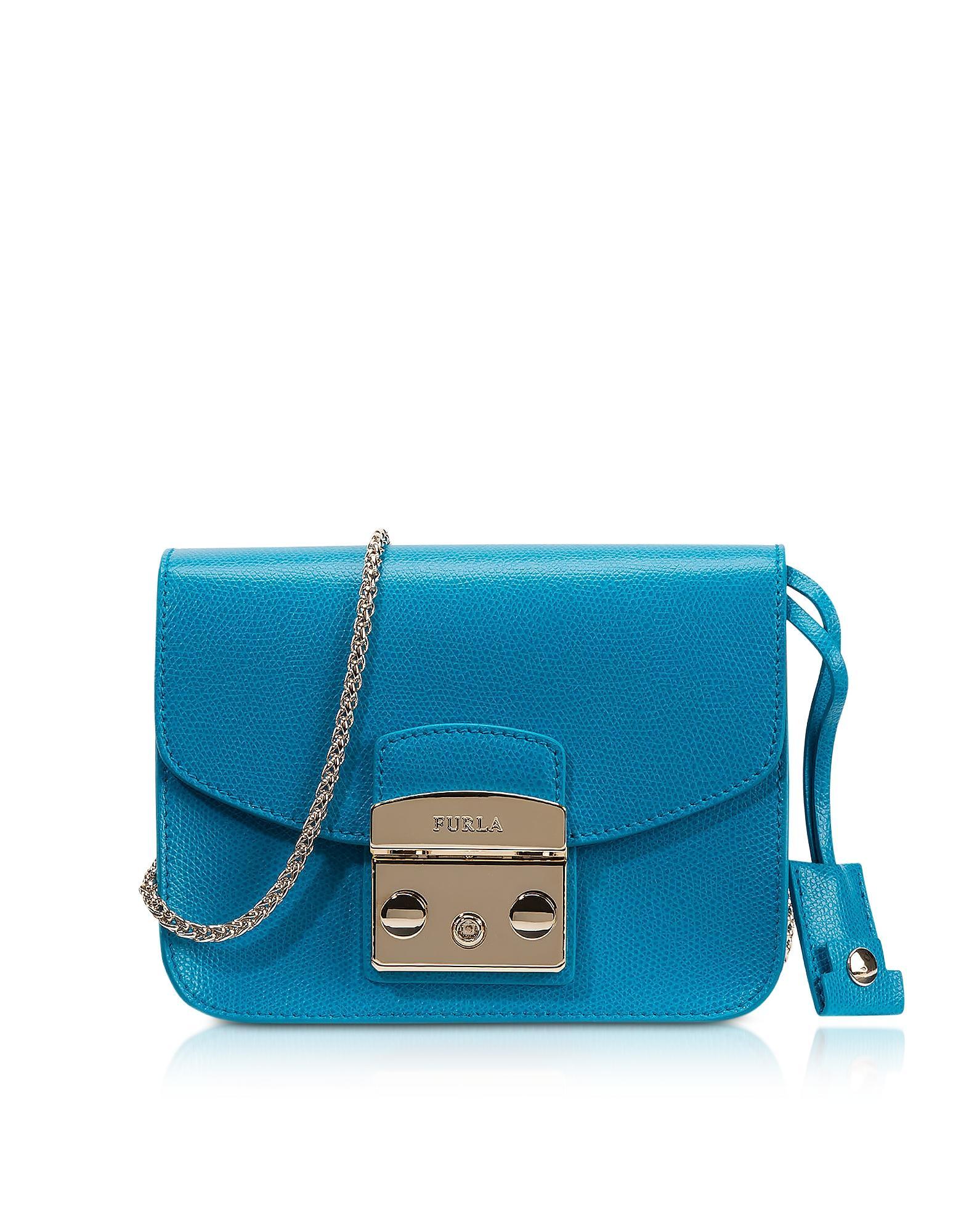 Lyst Furla Metropolis Turquoise Leather Mini Crossbody Bag In Blue Gallery Womens