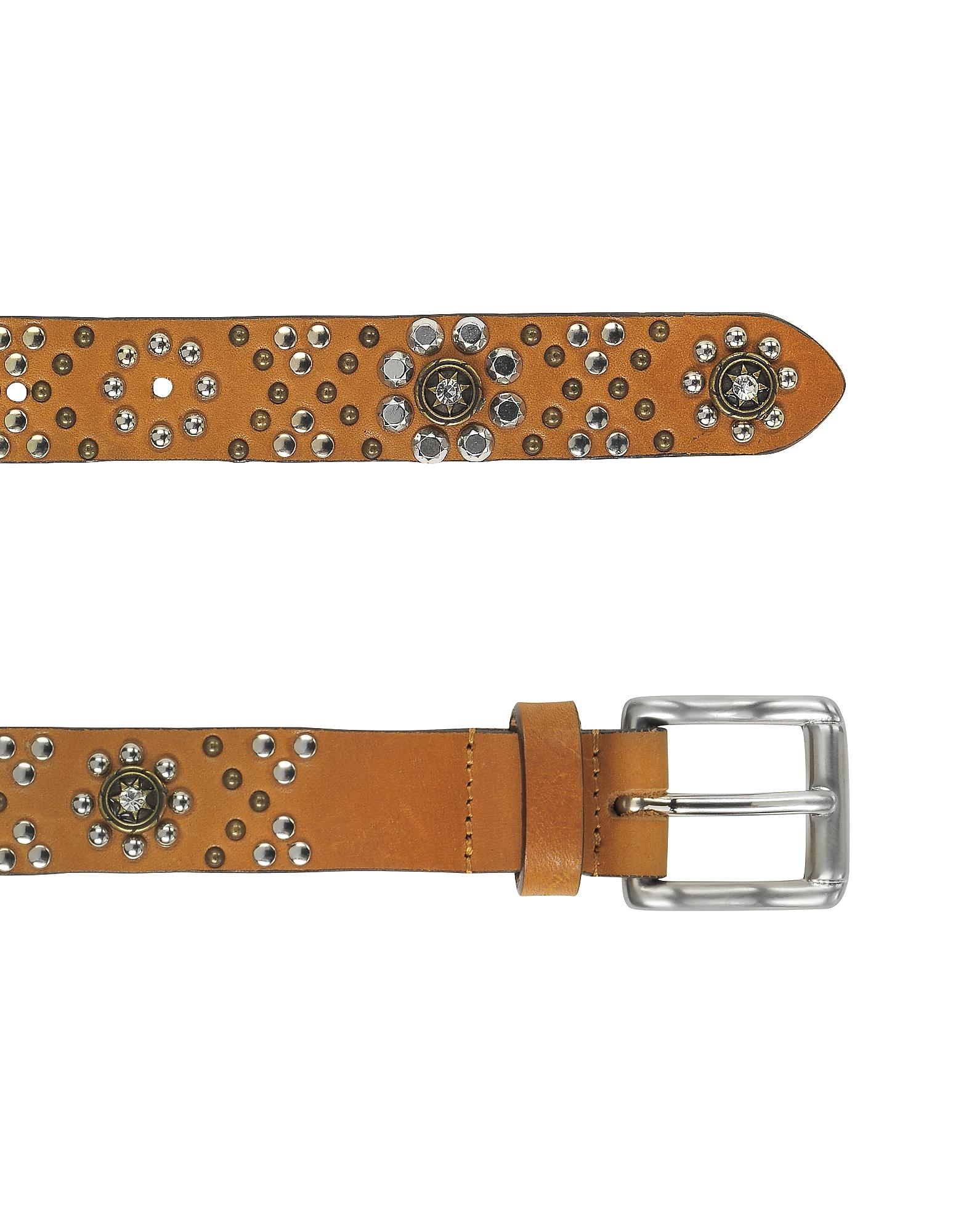 forzieri brown studded leather belt in brown lyst