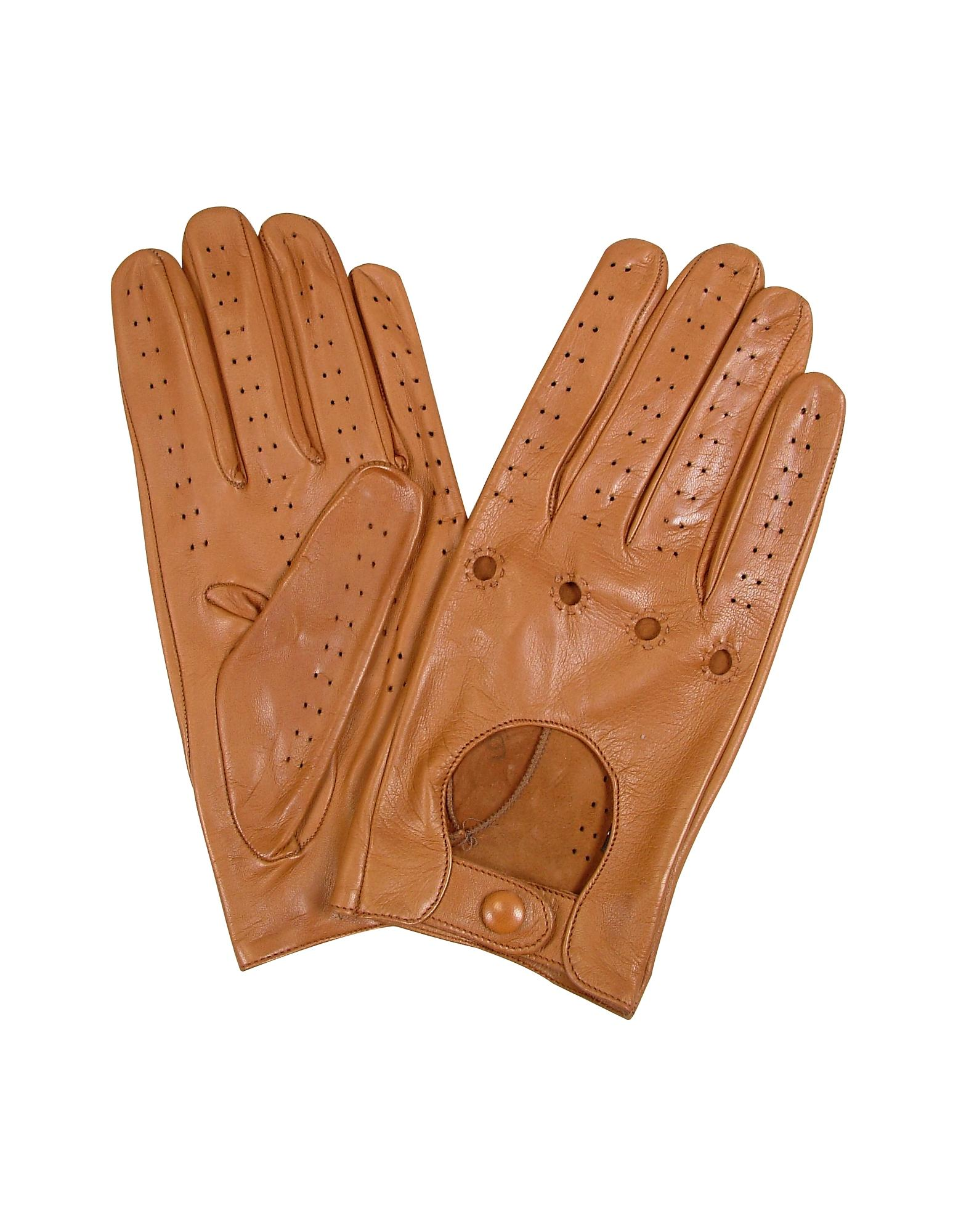 Forzieri Men's Tan Italian Leather Driving Gloves in Brown ...