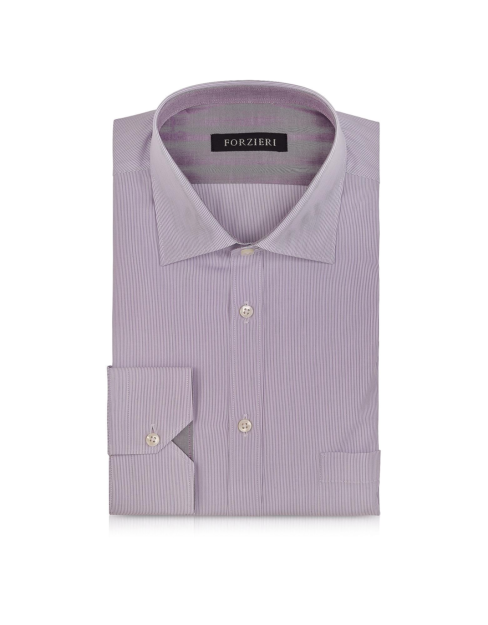 Forzieri light purple striped cotton shirt in purple for Light purple dress shirt men