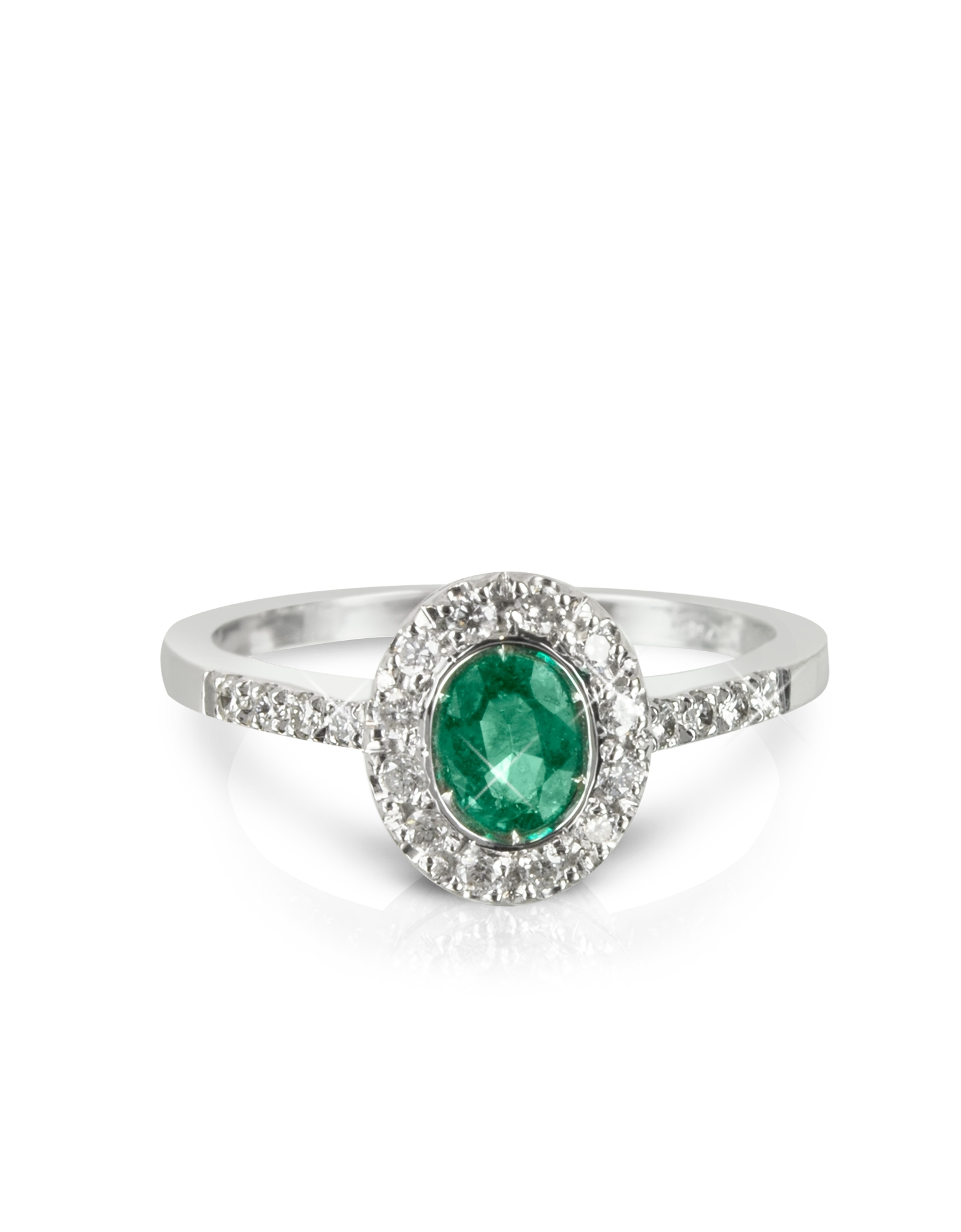 forzieri emerald and diamond 18k white gold ring in green. Black Bedroom Furniture Sets. Home Design Ideas