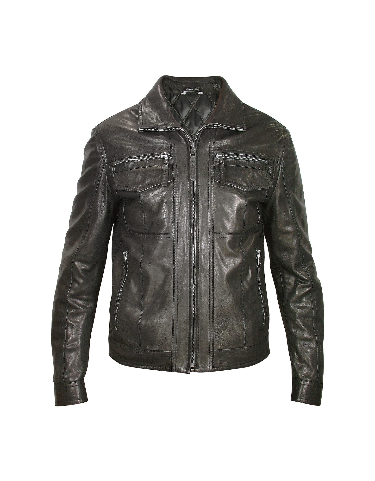 Lyst - Forzieri Men's Black Genuine Leather Motorcycle ...