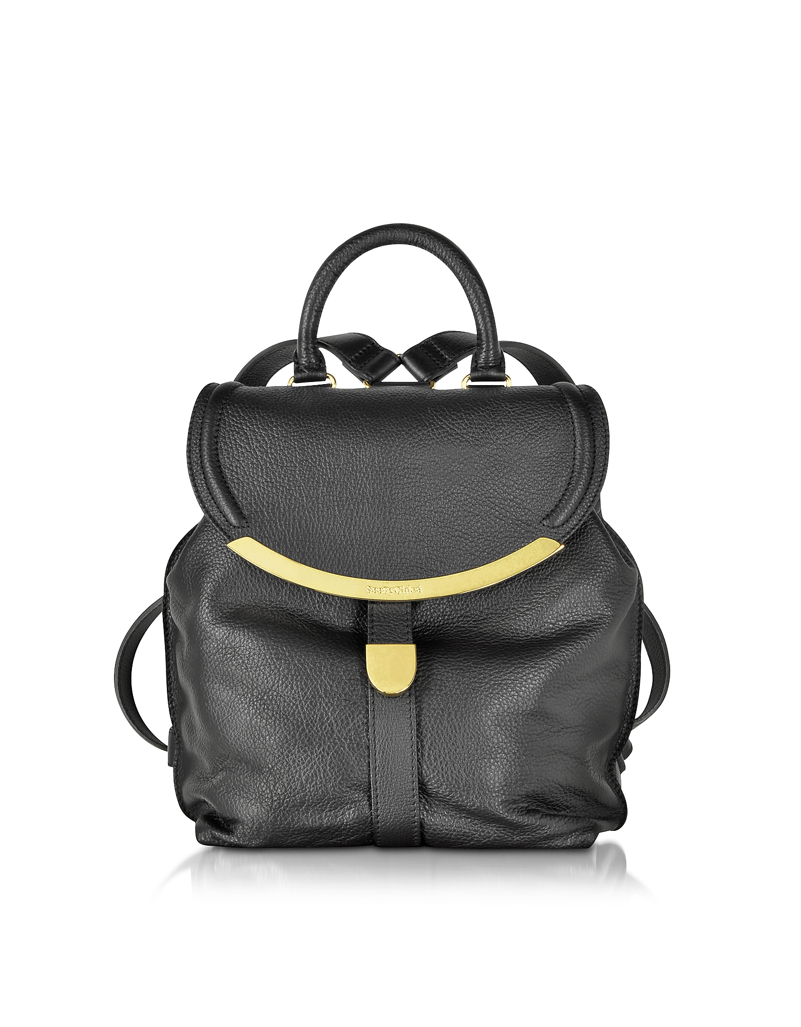Lyst - See By Chloé Lizzie Pebble Leather Backpack in Black f8f071230dea9