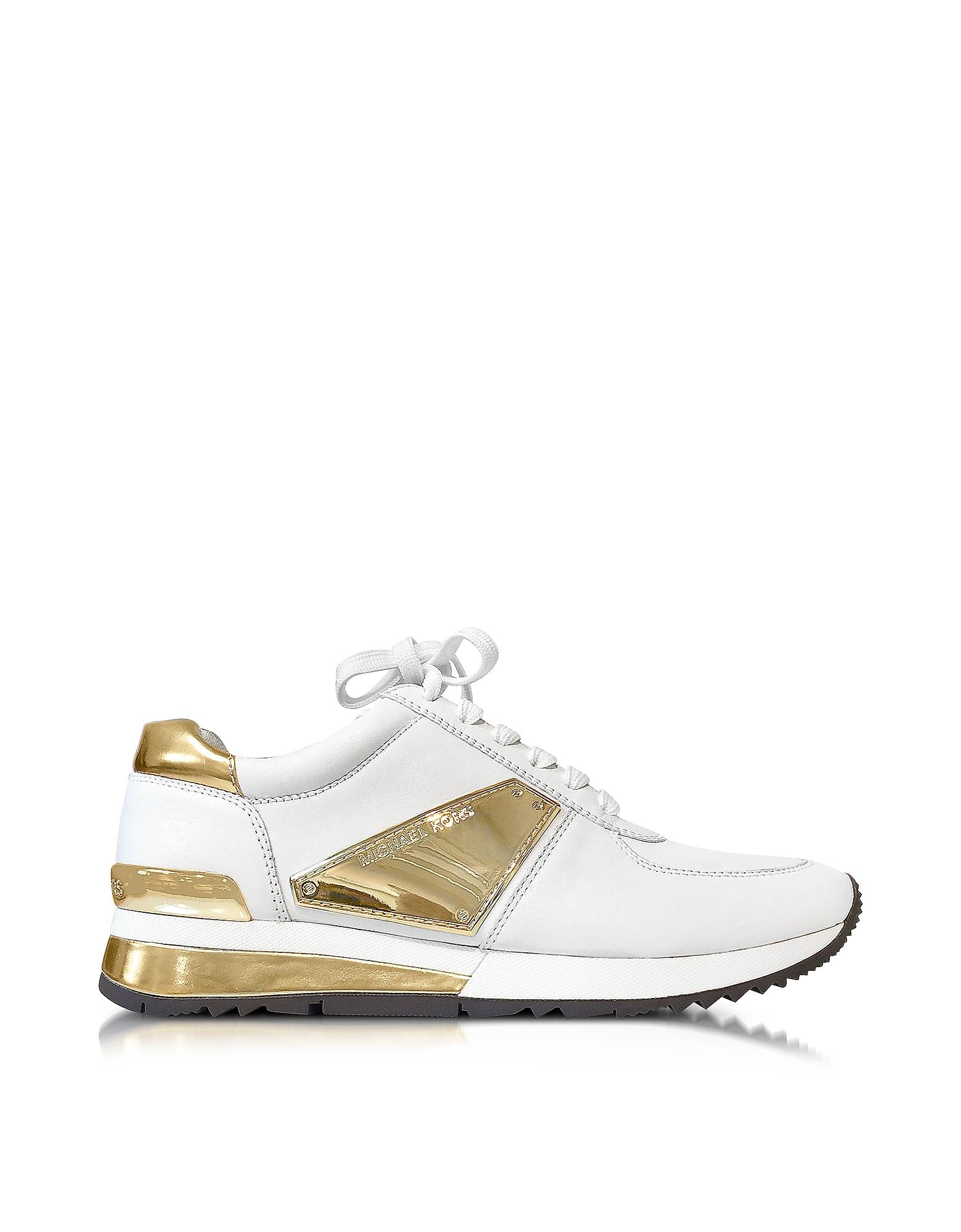michael kors allie white leather and gold plate wrap sneakers in white lyst. Black Bedroom Furniture Sets. Home Design Ideas