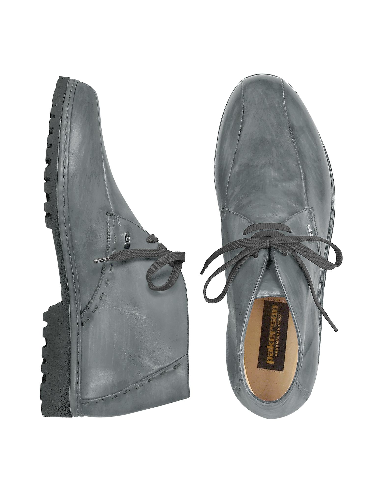 Pakerson Gray Handmade Italian Leather Ankle Boots In Gray