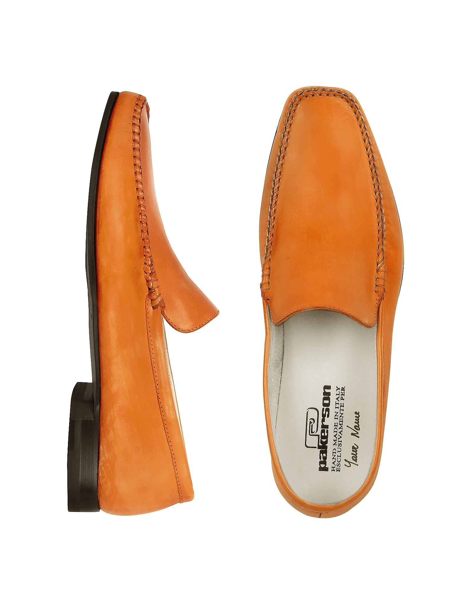 pakerson orange italian handmade leather loafer shoes in