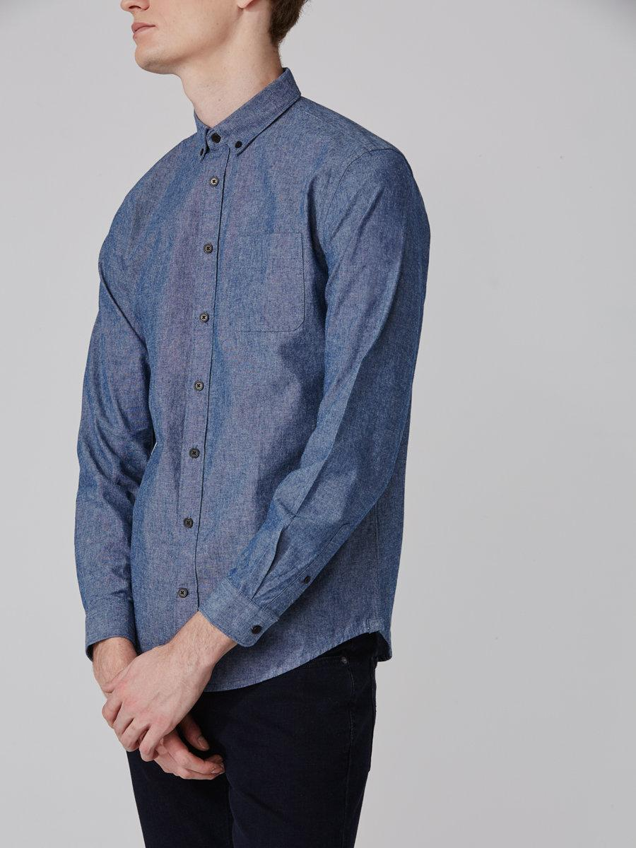 Frank oak odessa chambray shirt in blue in blue for men for Frank and oak shirt
