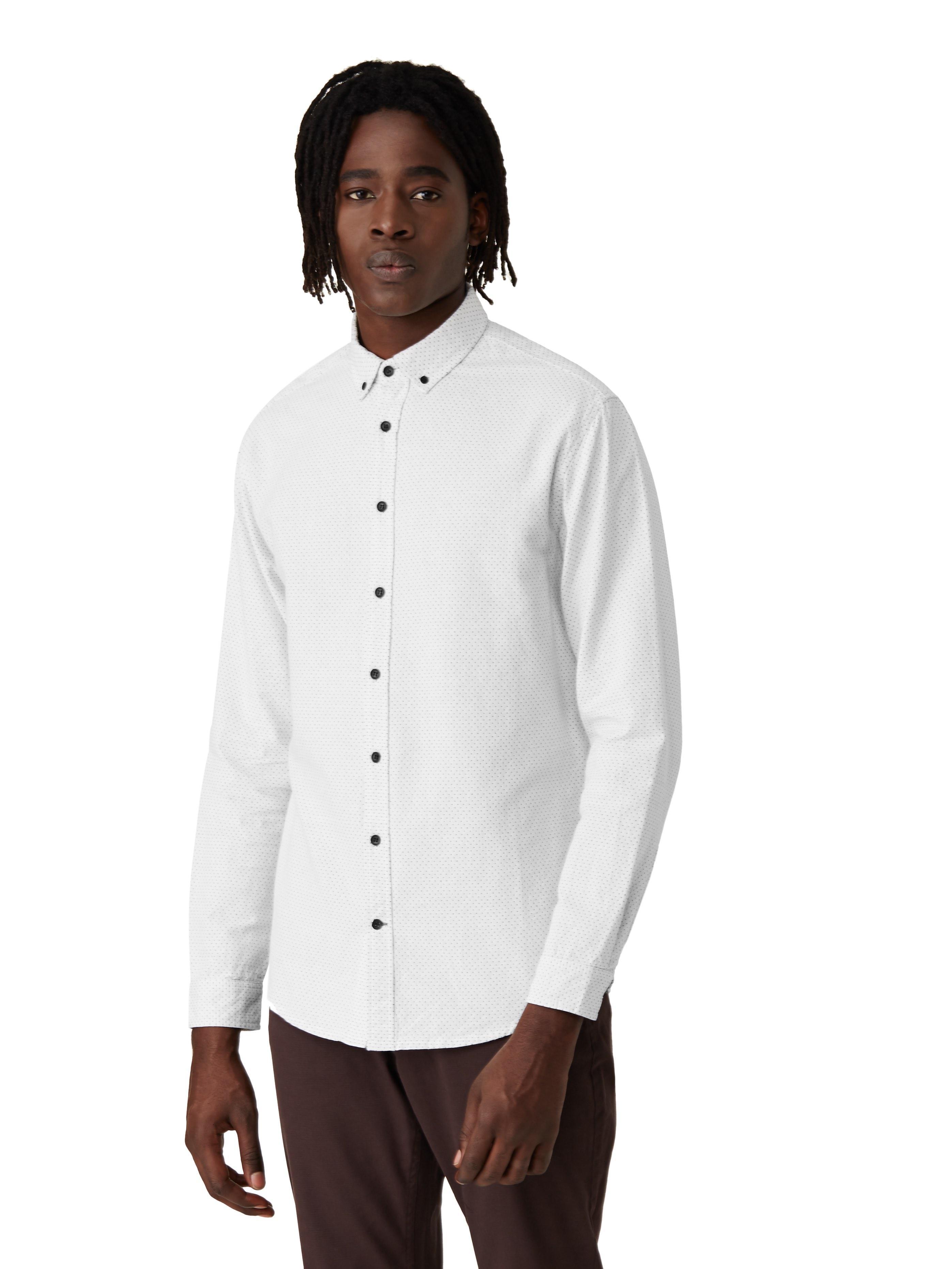 Frank oak woven dot shirt in off white in white for men for Frank and oak shirt
