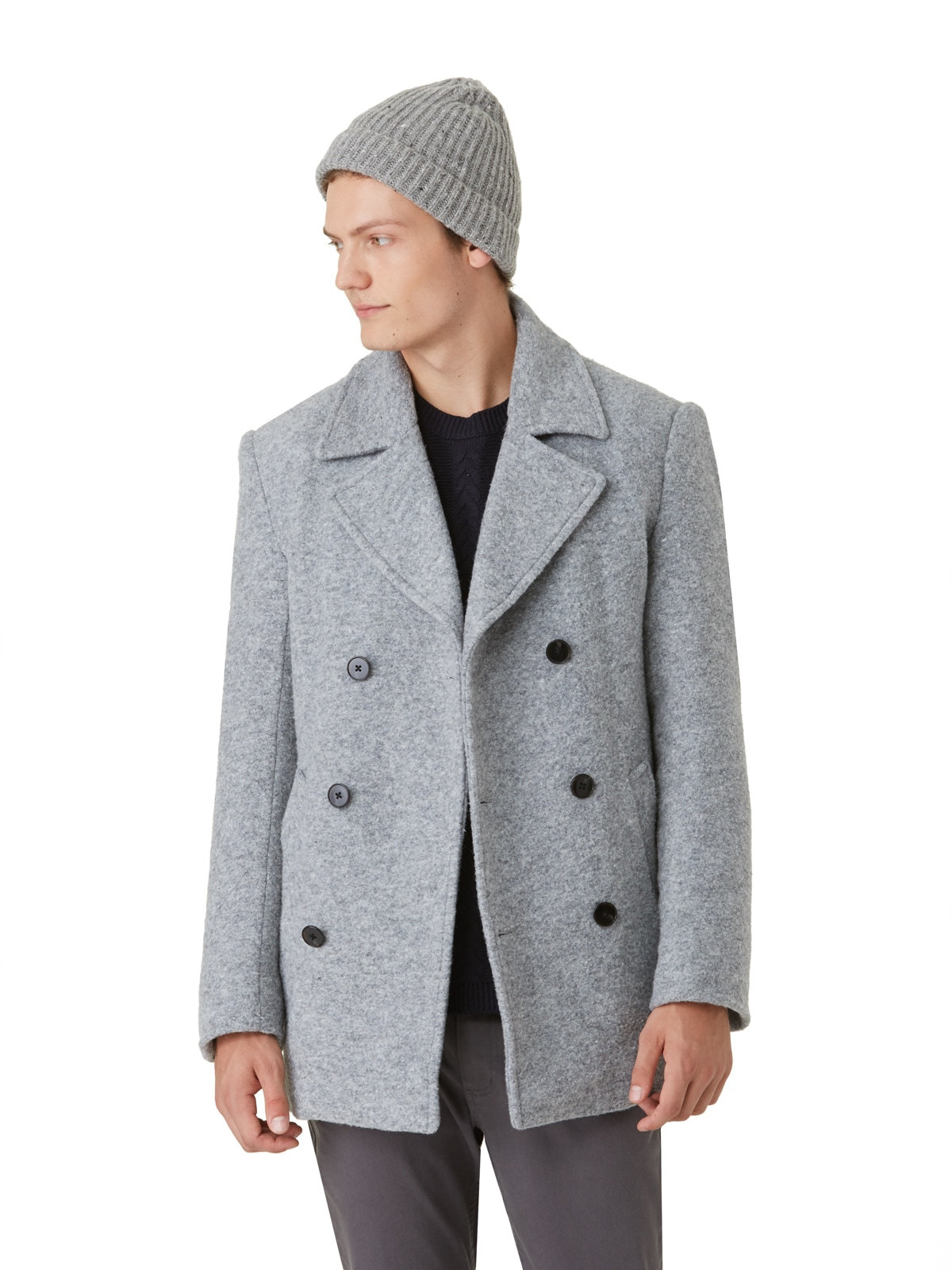 discover latest trends best choice latest releases Frank And Oak Plush Wool Peacoat In Grey Heather in Gray for ...