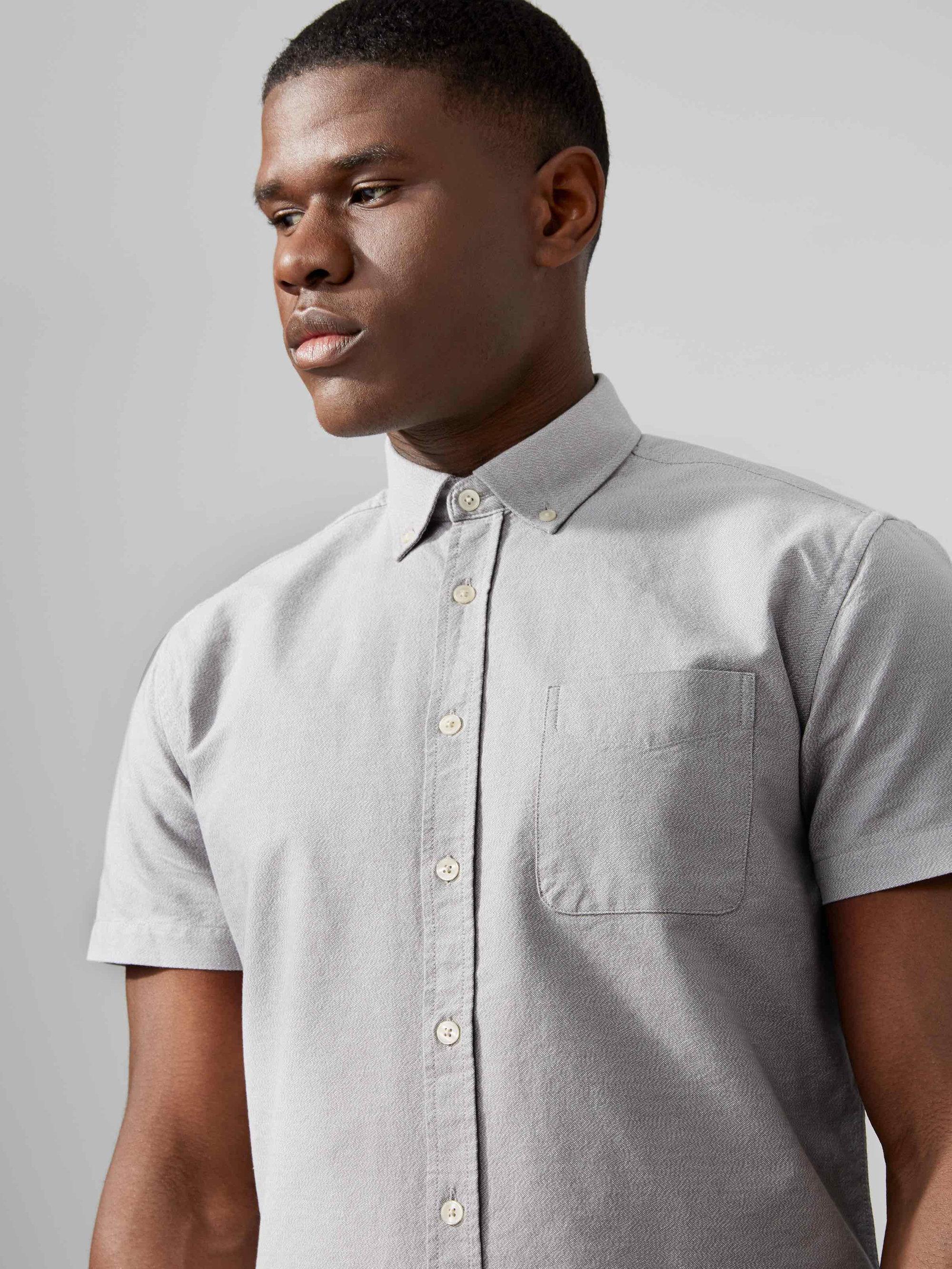 Frank oak the jasper oxford marl cotton shirt in light for Frank and oak shirt