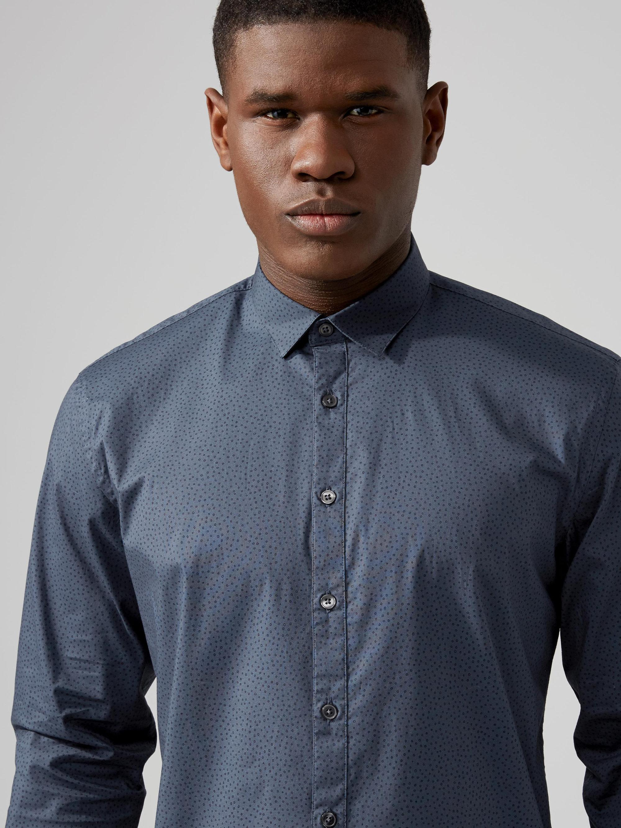 Frank oak printed stretch poplin cotton shirt in blue in for Frank and oak shirt