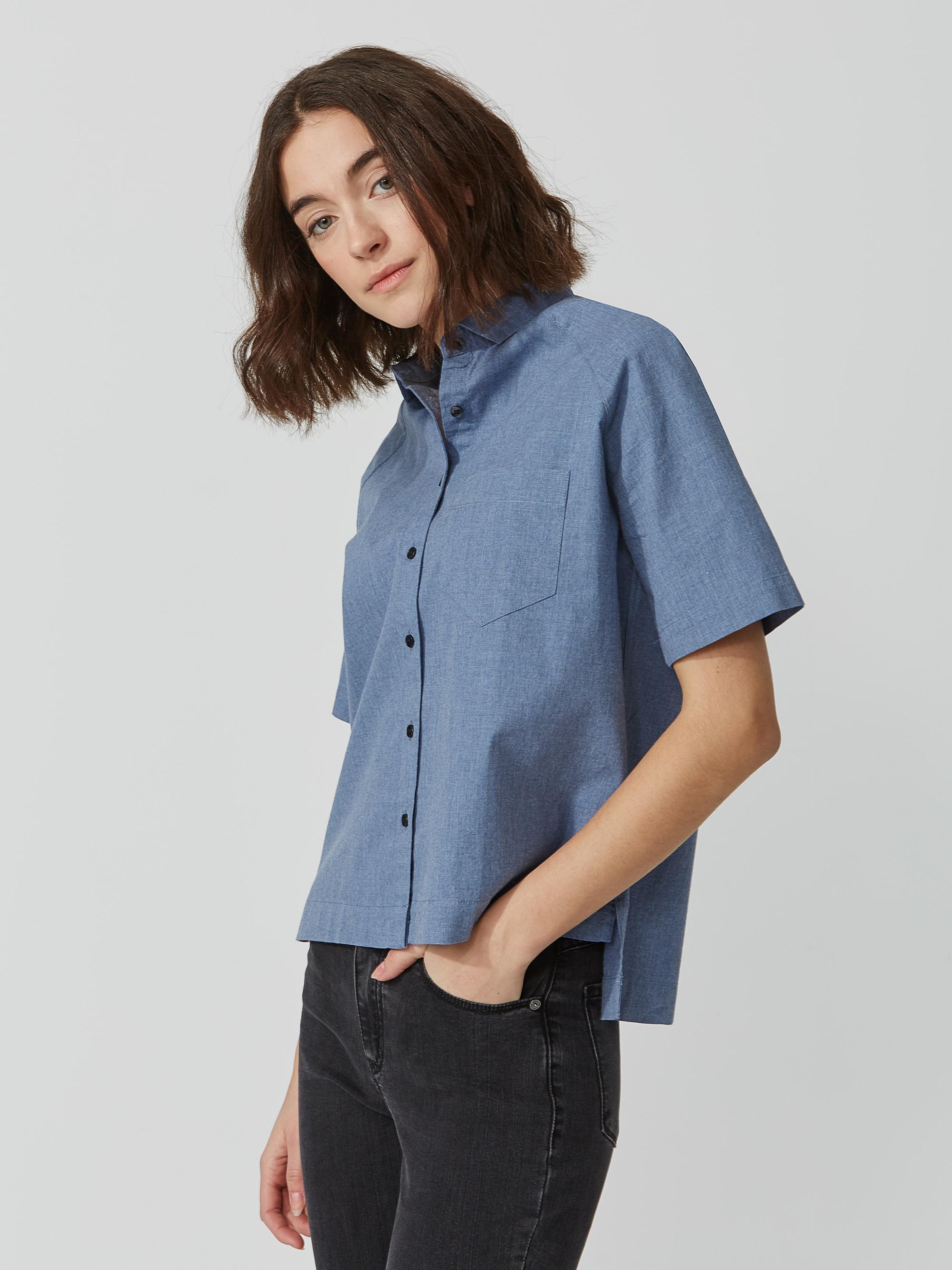 Frank oak midi oxford shirt in midnight blue heather in for Frank and oak shirt