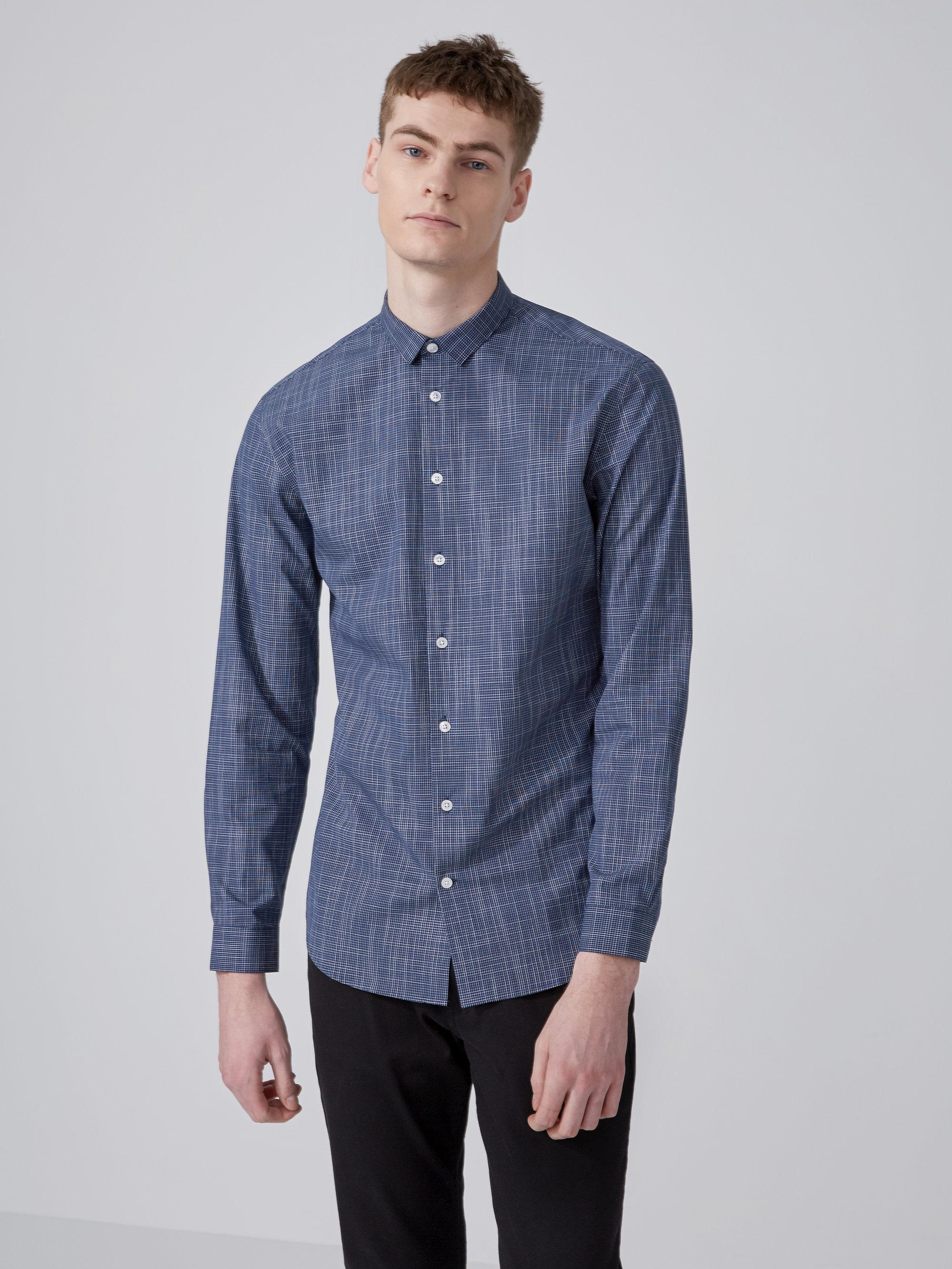 Frank and oak easy care mini check cotton shirt in blue for Frank and oak shirt
