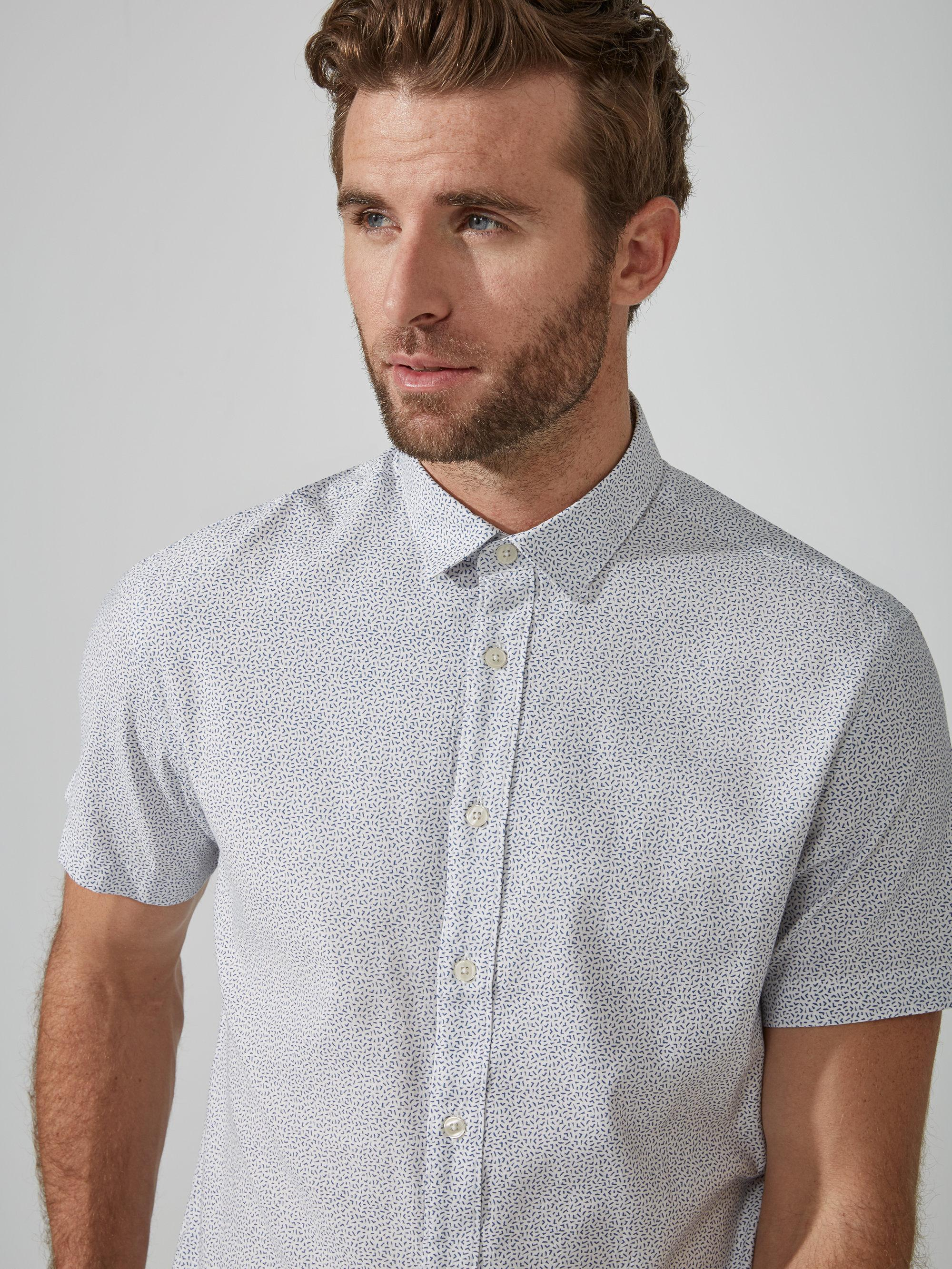 Frank and oak printed fluid cotton blend shirt in federal for Frank and oak shirt