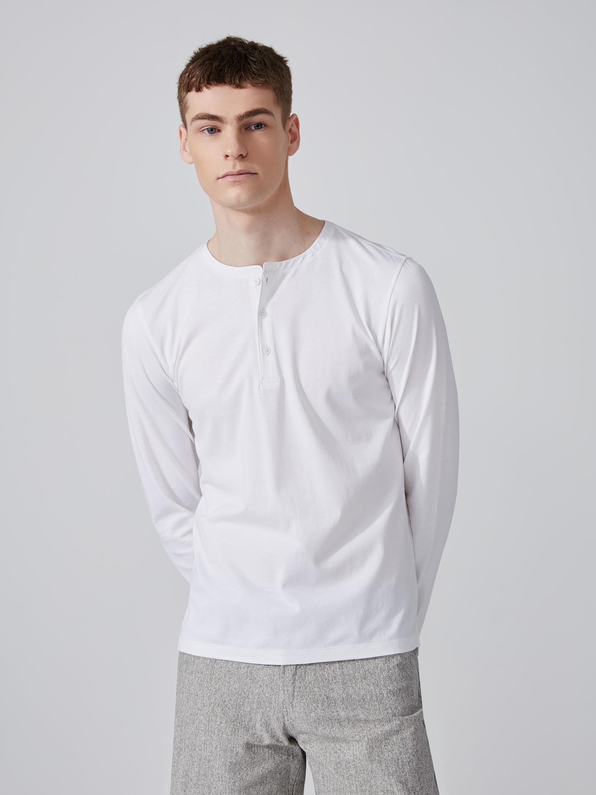 Frank oak easy wear cotton henley in bright white in for Frank and oak shirt
