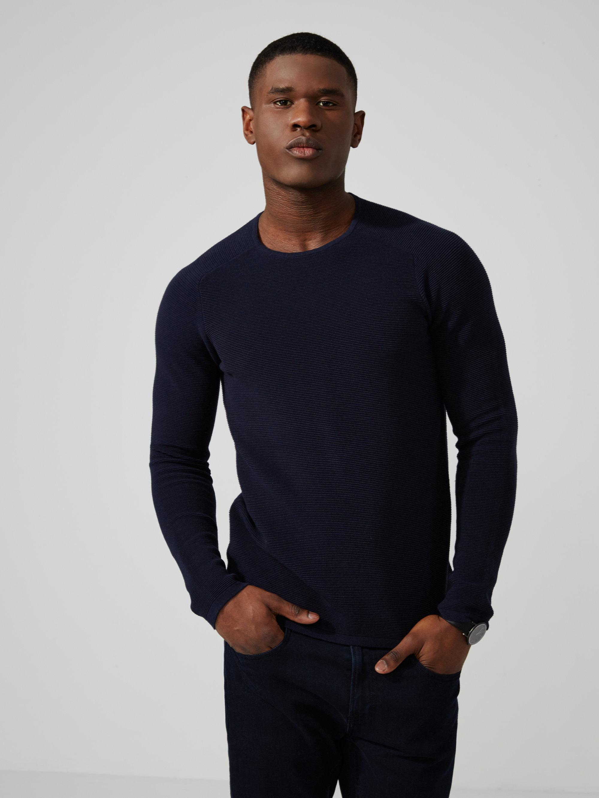 Frank oak easy wear ottoman stitch cotton crewneck in for Frank and oak shirt