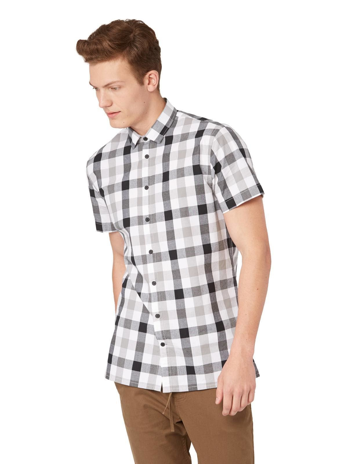Frank oak large gingham short sleeve shirt in grey in for Frank and oak shirt