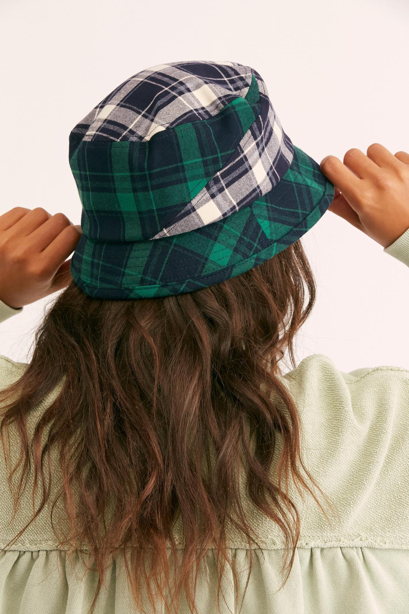 6b760597466ce4 Free People Kangol Plaid On Plaid Bucket Hat in Blue - Lyst