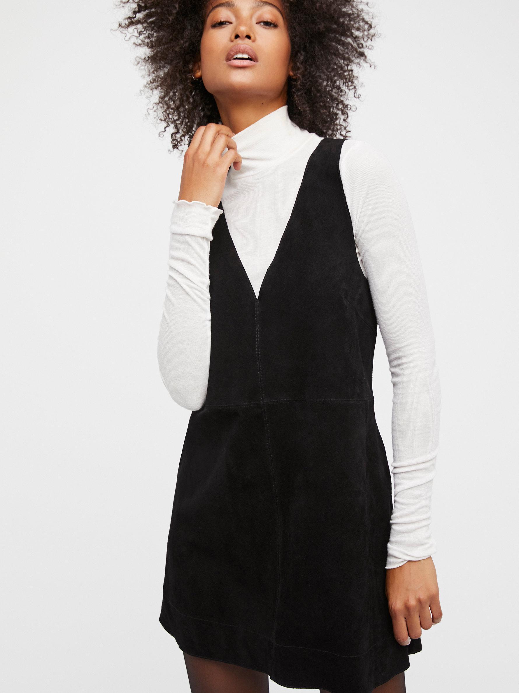5528cf17a3867 Lyst - Free People Retro Love Suede Dress in Black