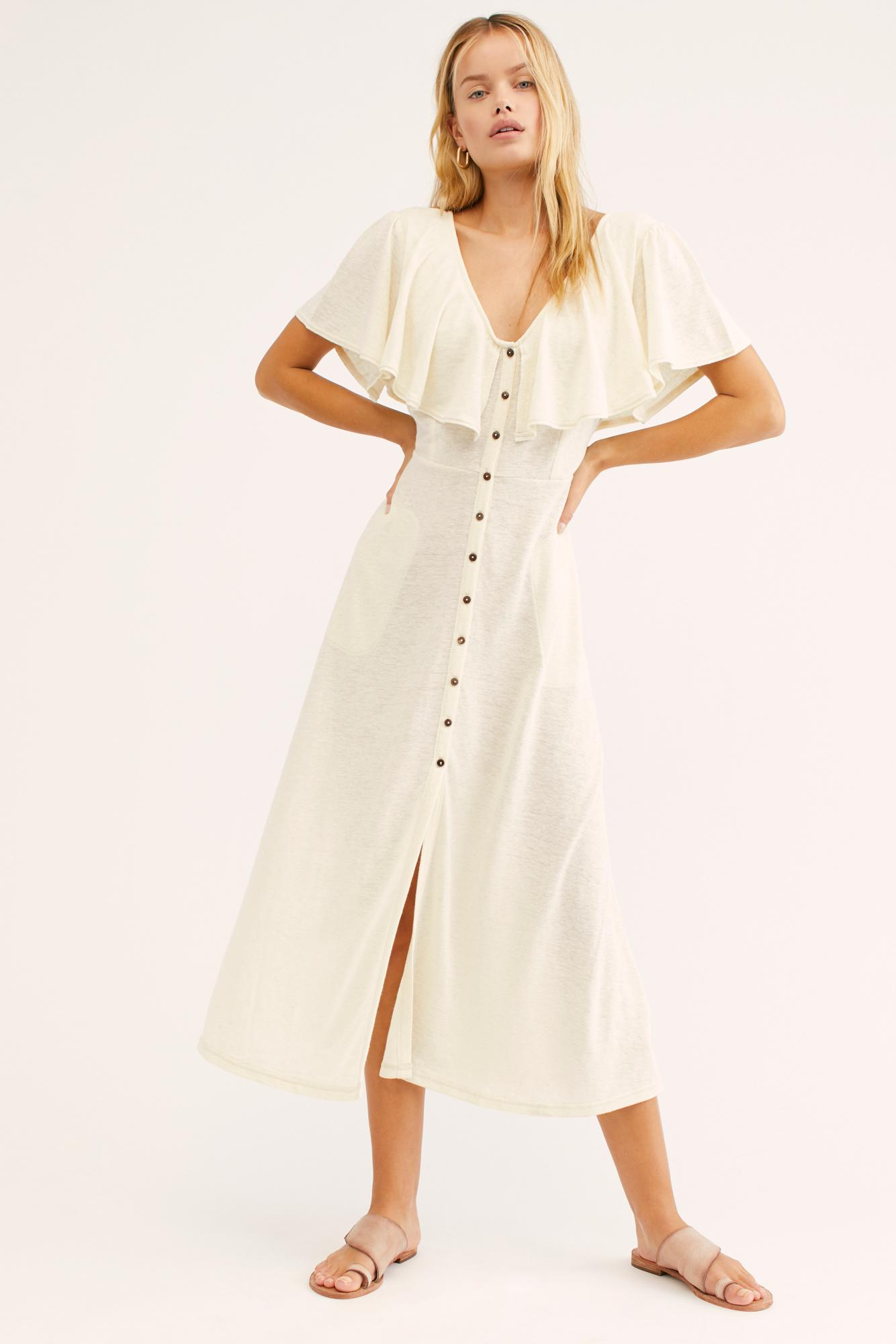 e77429aae1 Free People Messenger Midi Dress By Fp Beach in Natural - Lyst
