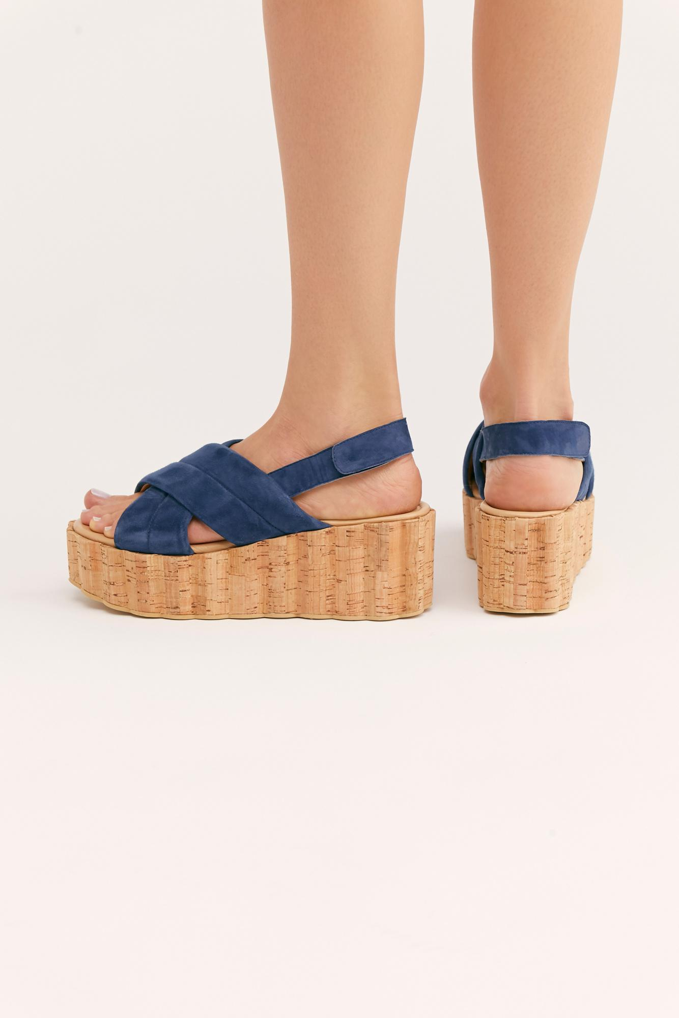 1285bec85c1 Free People - Blue Noelle Flatform Sandal By Fp Collection - Lyst. View  fullscreen