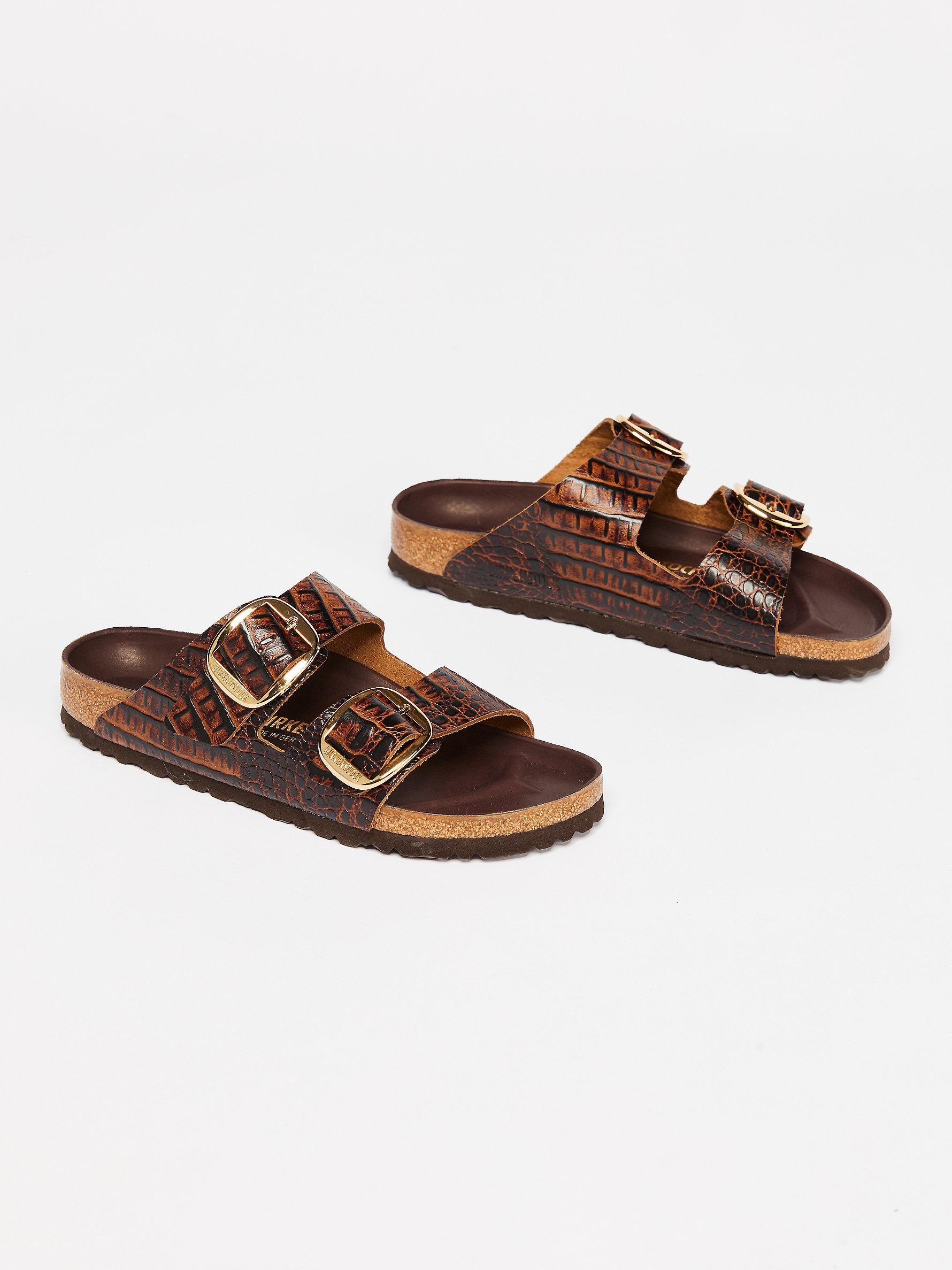 b93b1990e1479 Free People Croc Arizona Big Buckle Birkenstock in Brown - Lyst