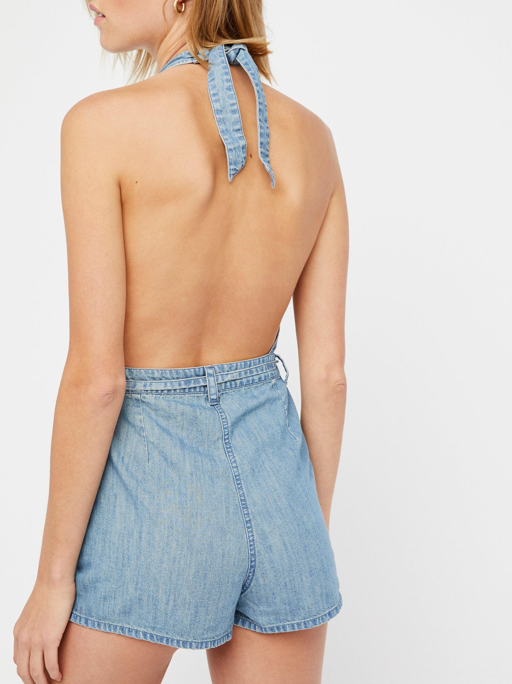 772088441fb4 Lyst - Free People Blossoming Chambray Playsuit in Blue
