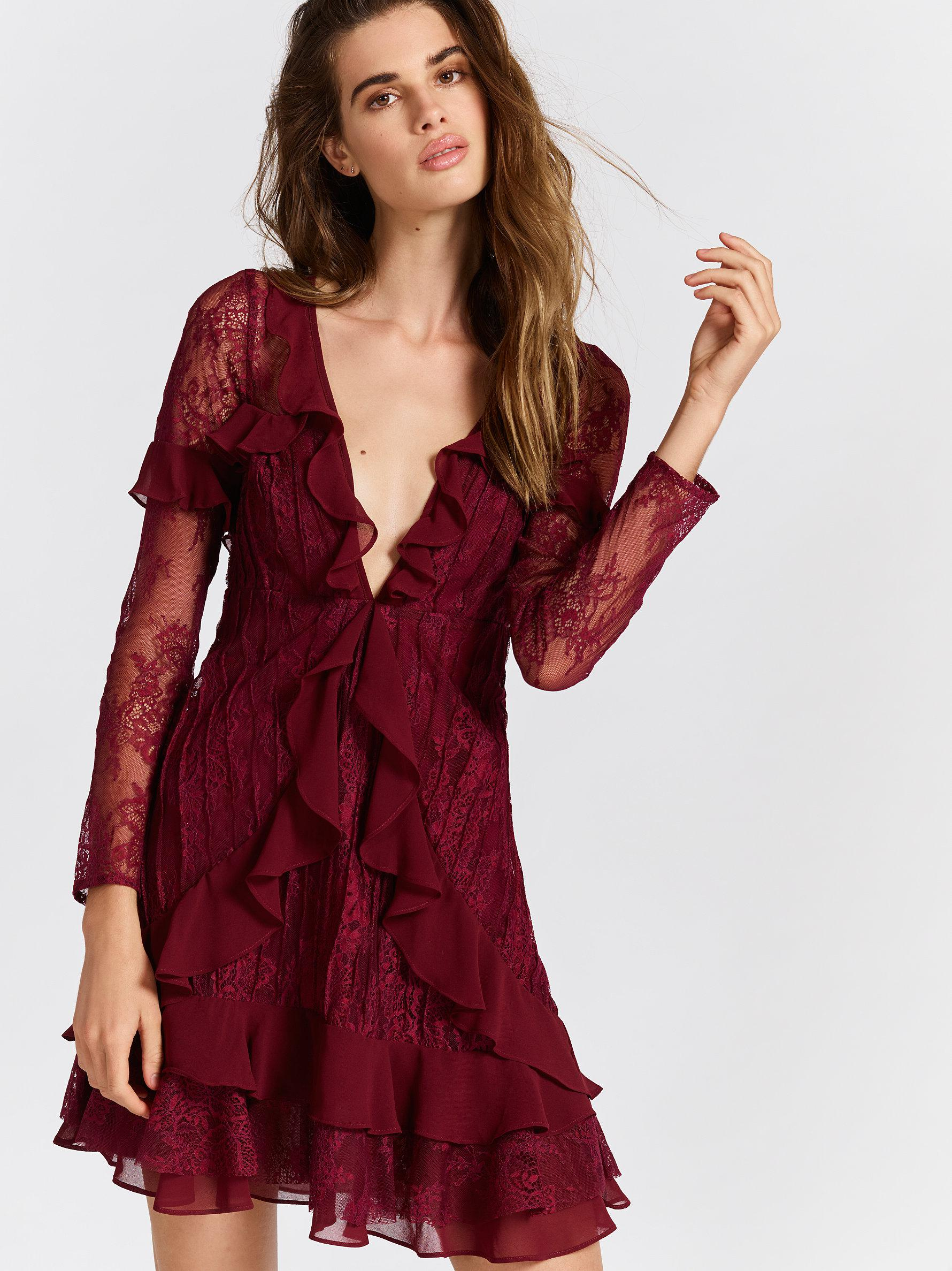 e282bf04bbd9 Free People Clothes Dresses Daphne Lace Mini Dress in Red - Lyst