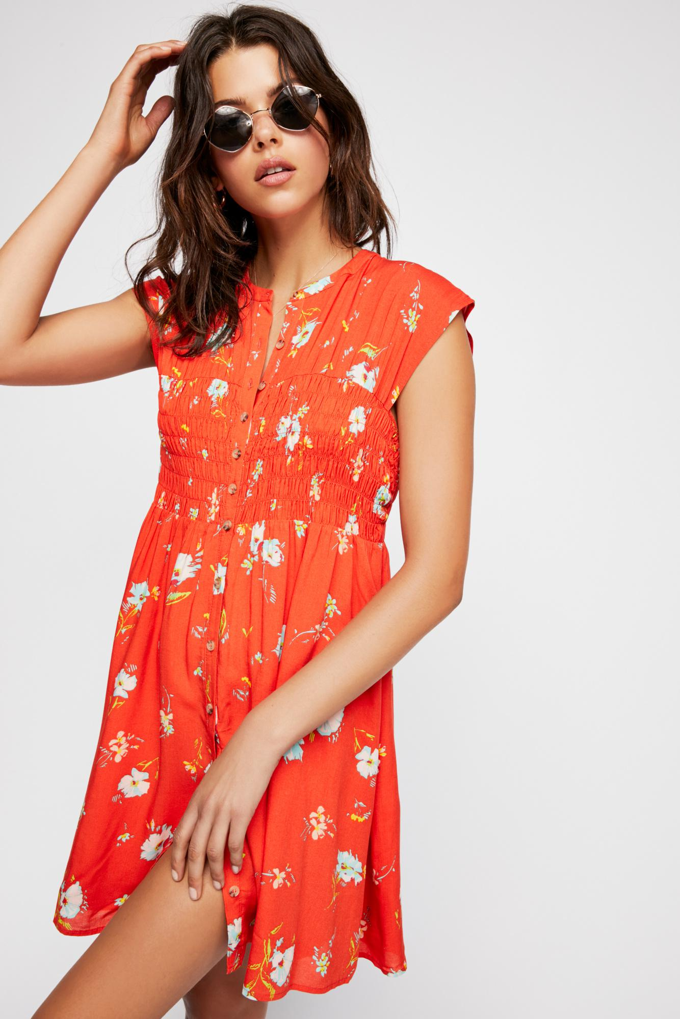 5e3019528342 Free People Greatest Day Smocked Mini Dress in Red - Lyst