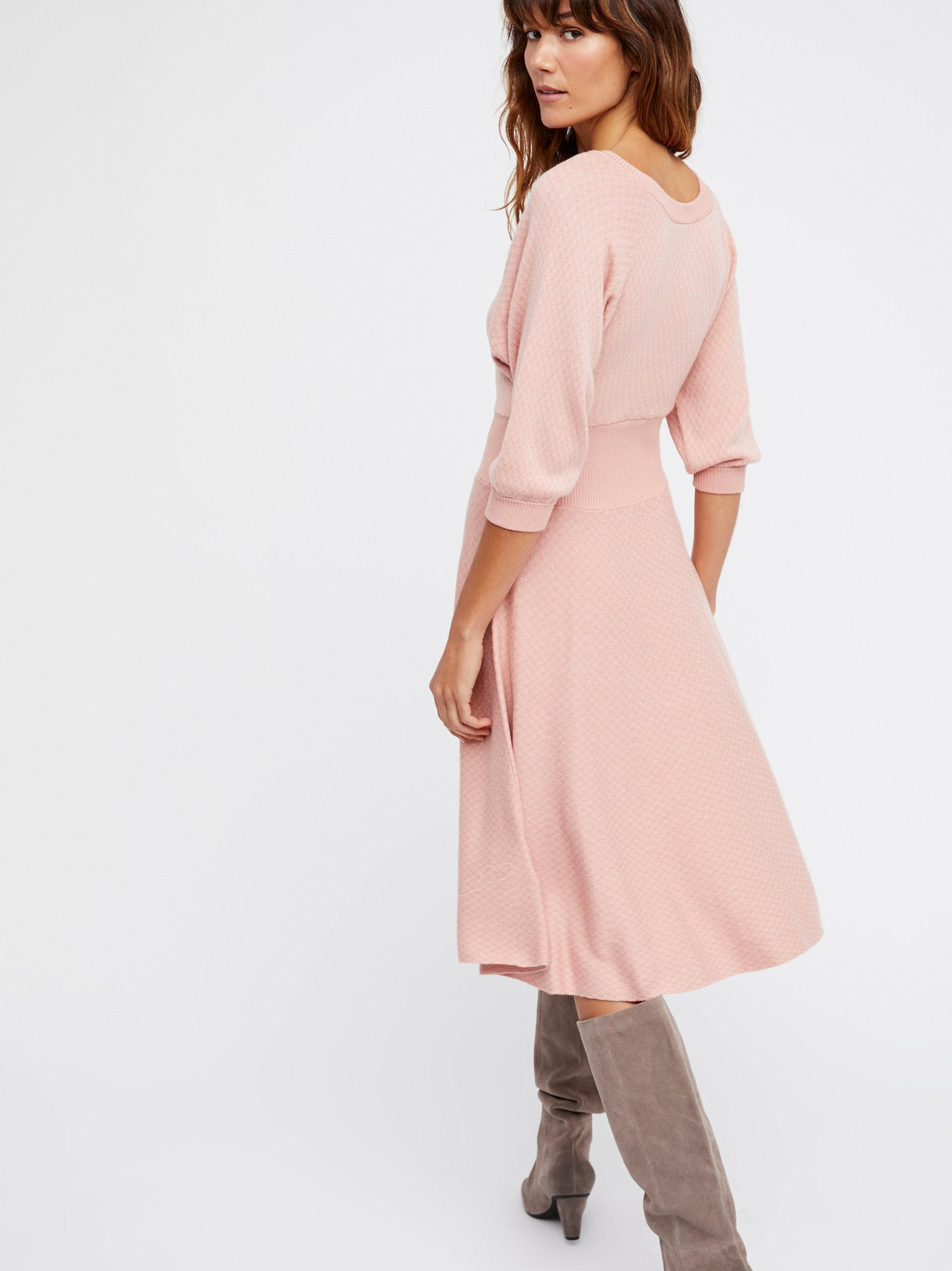 963ee32985f5c Lyst - Free People Begin Again Sweater Dress in Pink