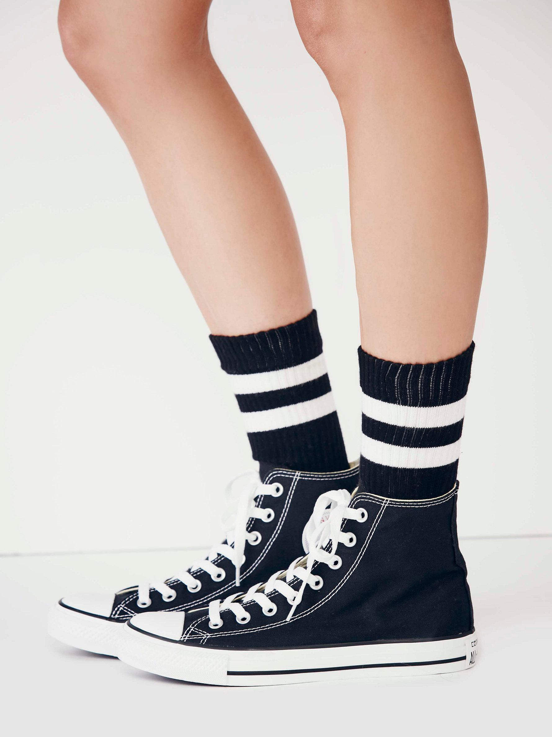 c42a1a3610d092 Lyst - Free People Charlie Hi Top Converse in Black
