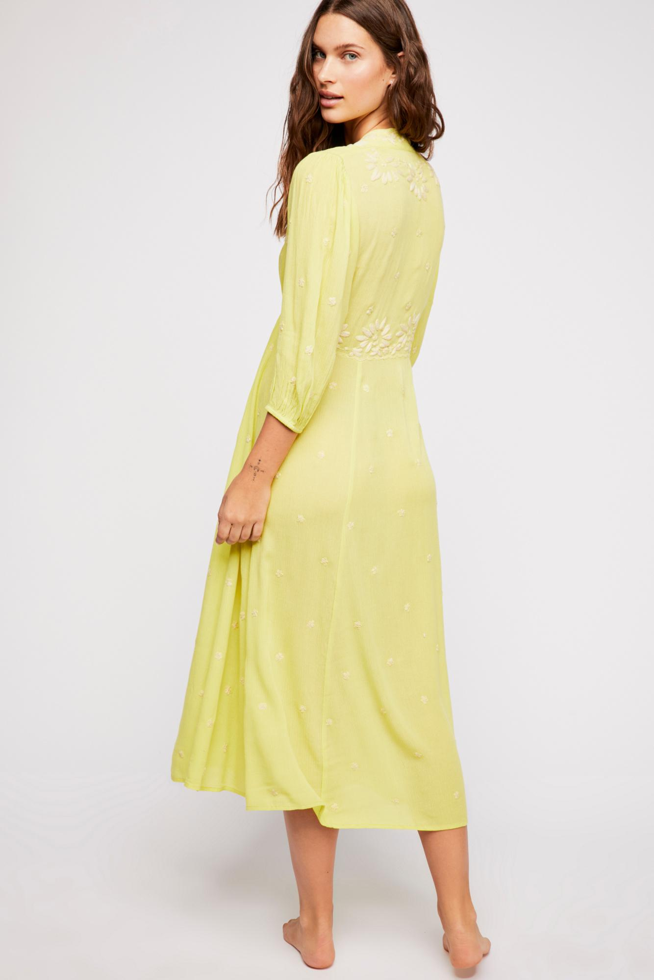 d89a17e71a799 Free People Embroidered Fable Midi Dress in Yellow - Save 6% - Lyst