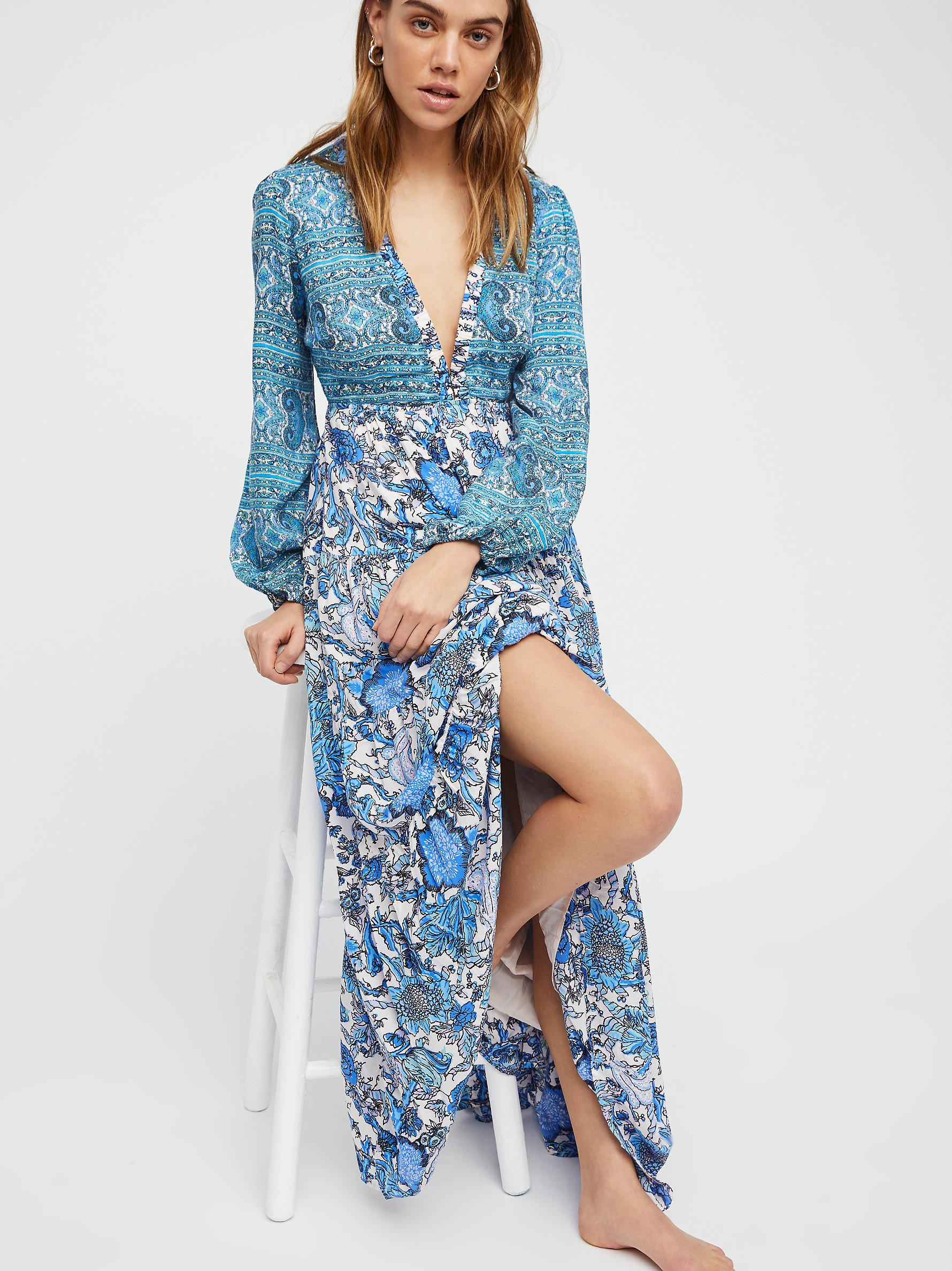 9acd38253a81 Free People Dove Long Sleeve Maxi Dress in Blue - Lyst