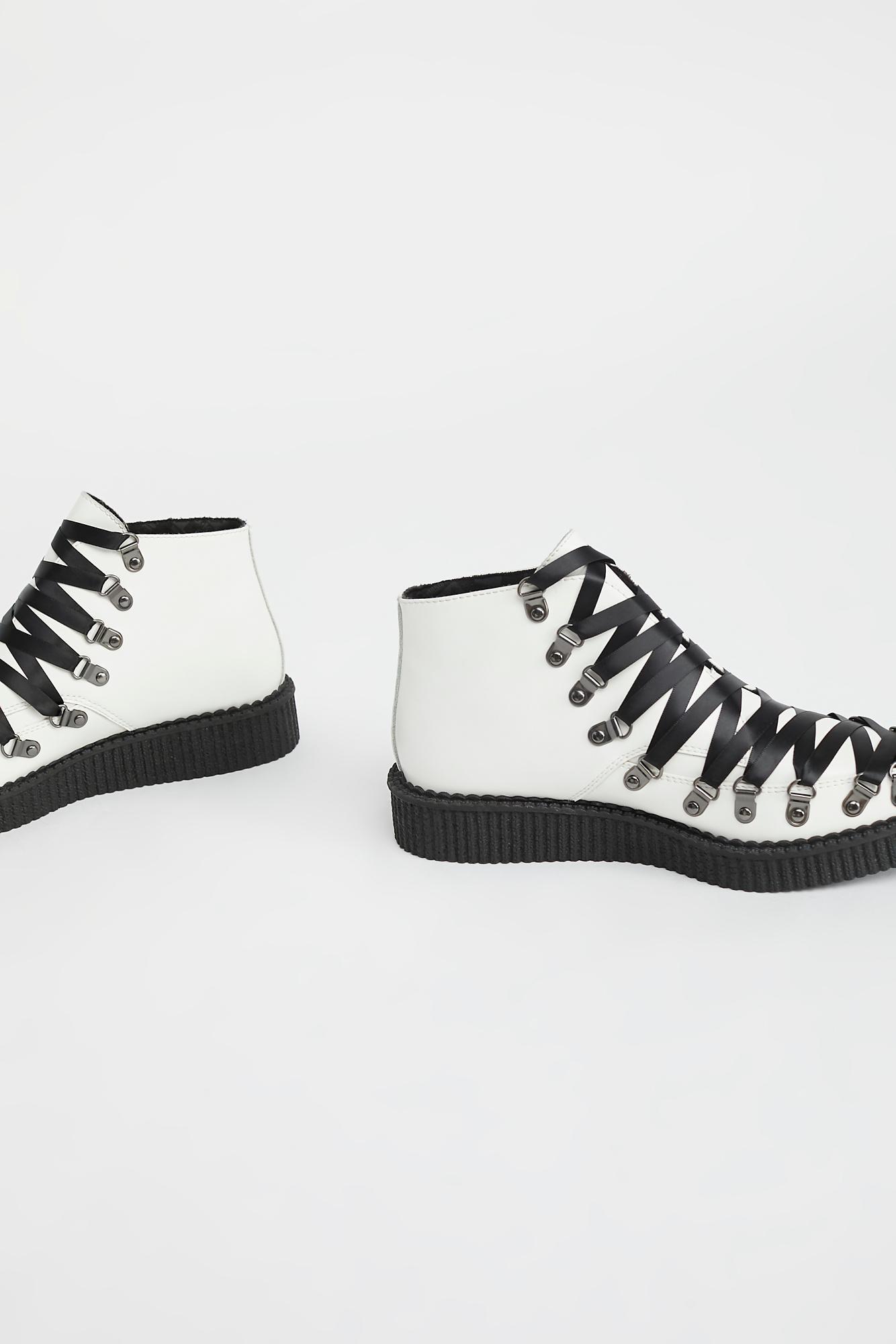 3c4d200eb2f Lyst - Free People T.u.k Corset Creeper Boot By T.u.k Footwear in White