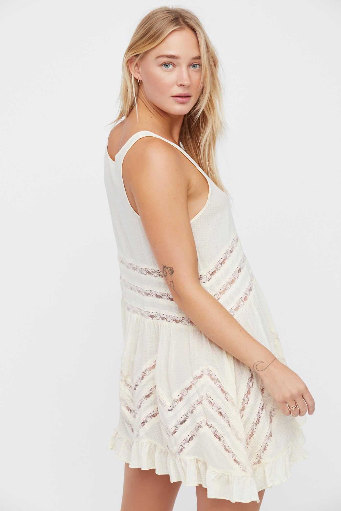 74735433c6fe Free People. Women s White Voile And Lace Trapeze Slip By Intimately ...