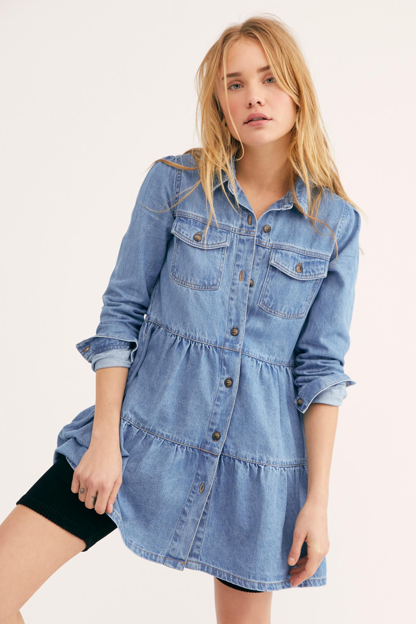 8a8a36b9204 Free People - Blue Nicole Denim Shirt Dress - Lyst. View fullscreen