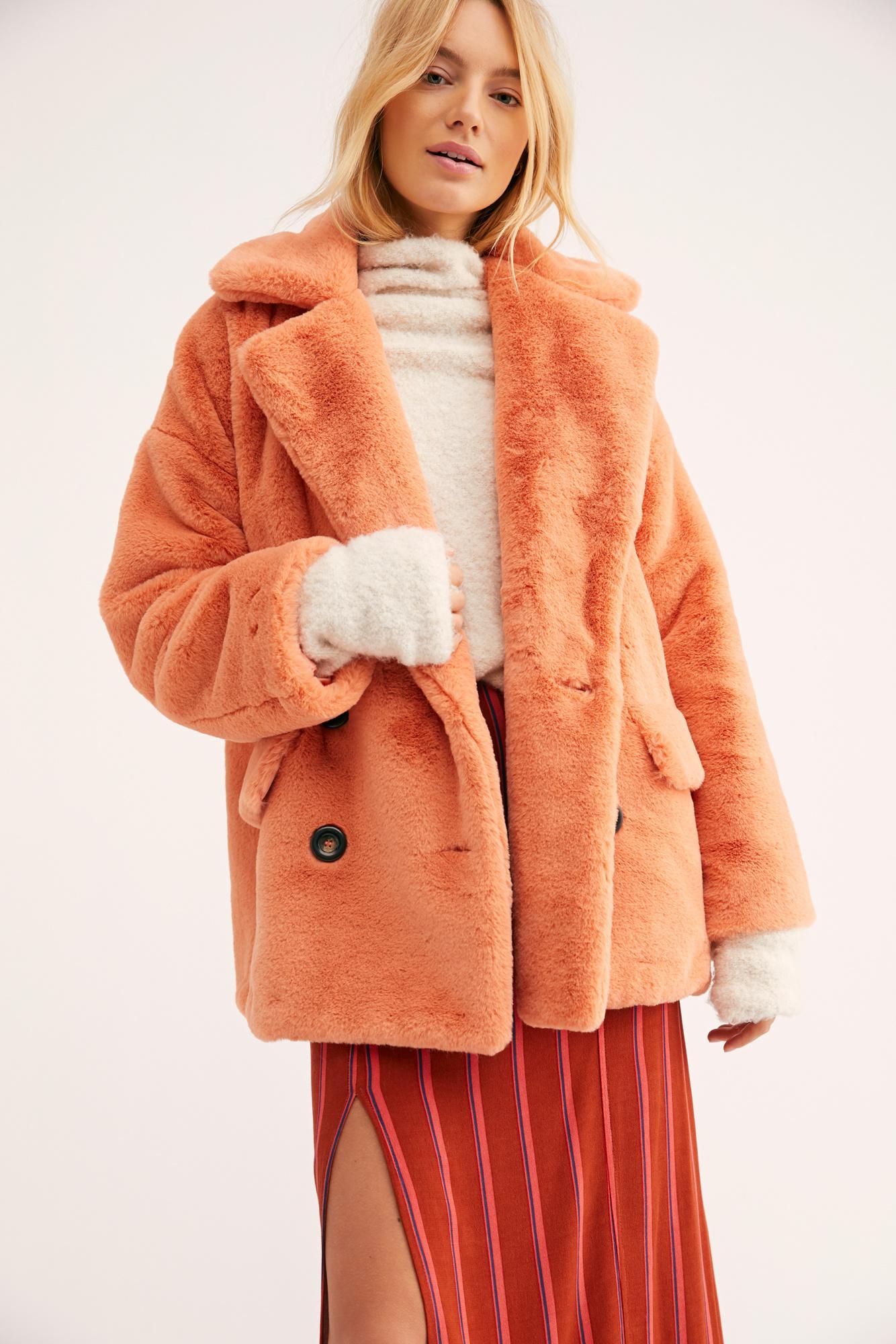eb881f16d993 Lyst - Free People Solid Kate Faux Fur Coat in Orange