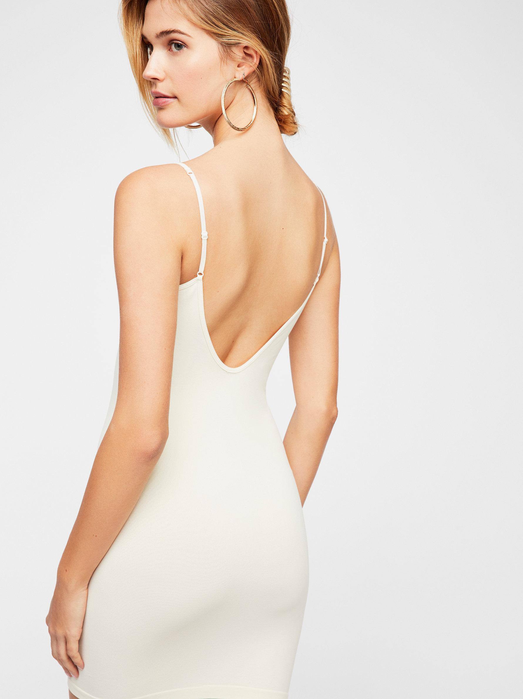 d20445bb11f Free People Seamless Low Back Mini Slip in White - Lyst