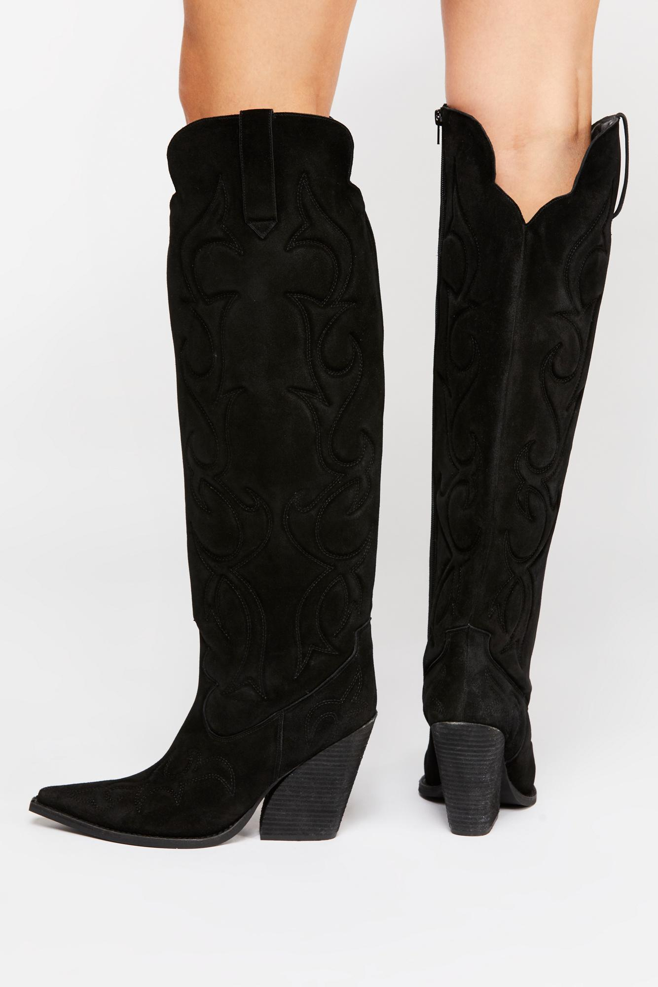 4771fda343ce Lyst - Free People Josey Tall Boot By Jeffrey Campbell in Black