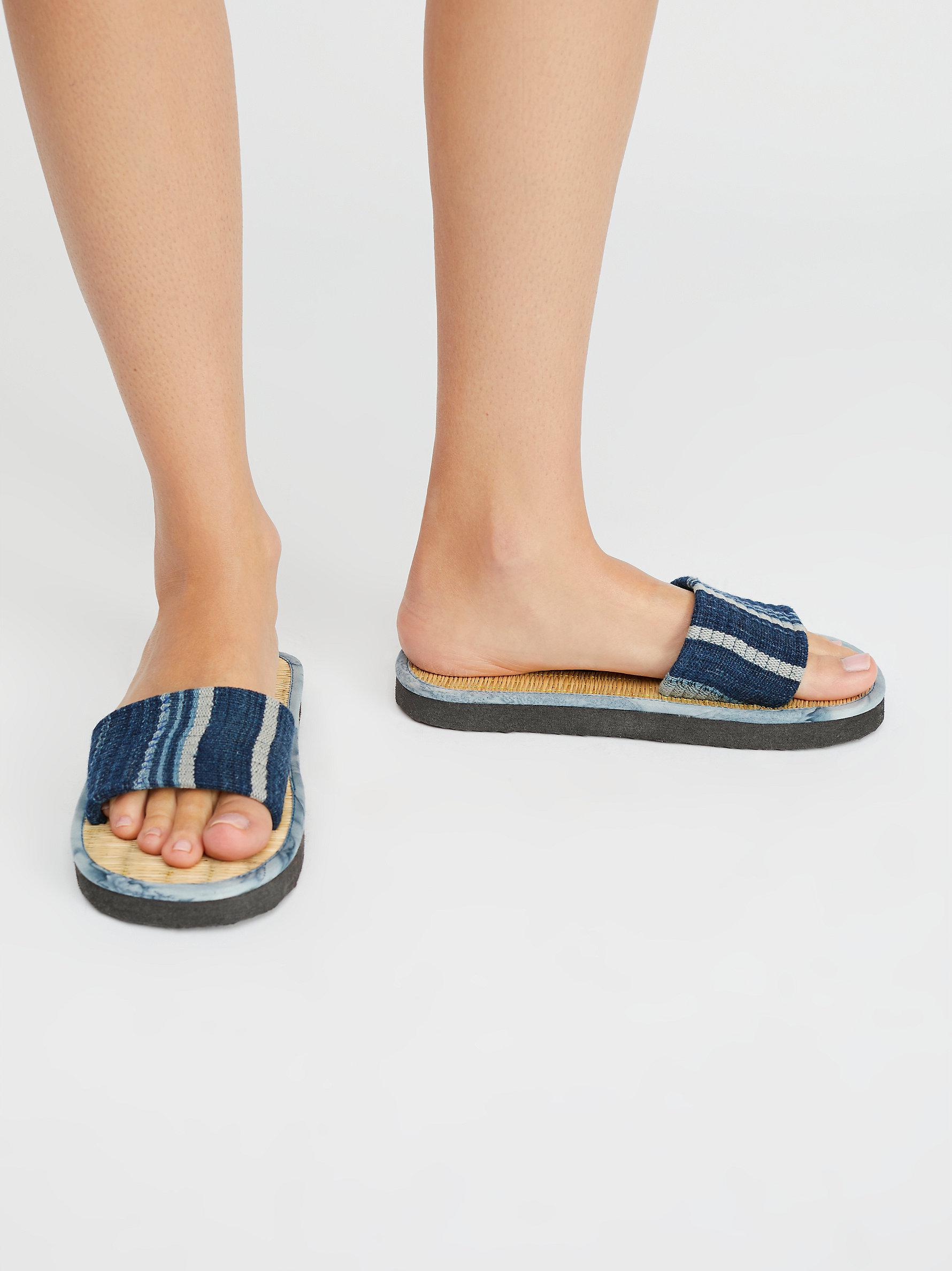 2adbd9473e4b Lyst - Free People Say The Sun Slide Sandal in Blue
