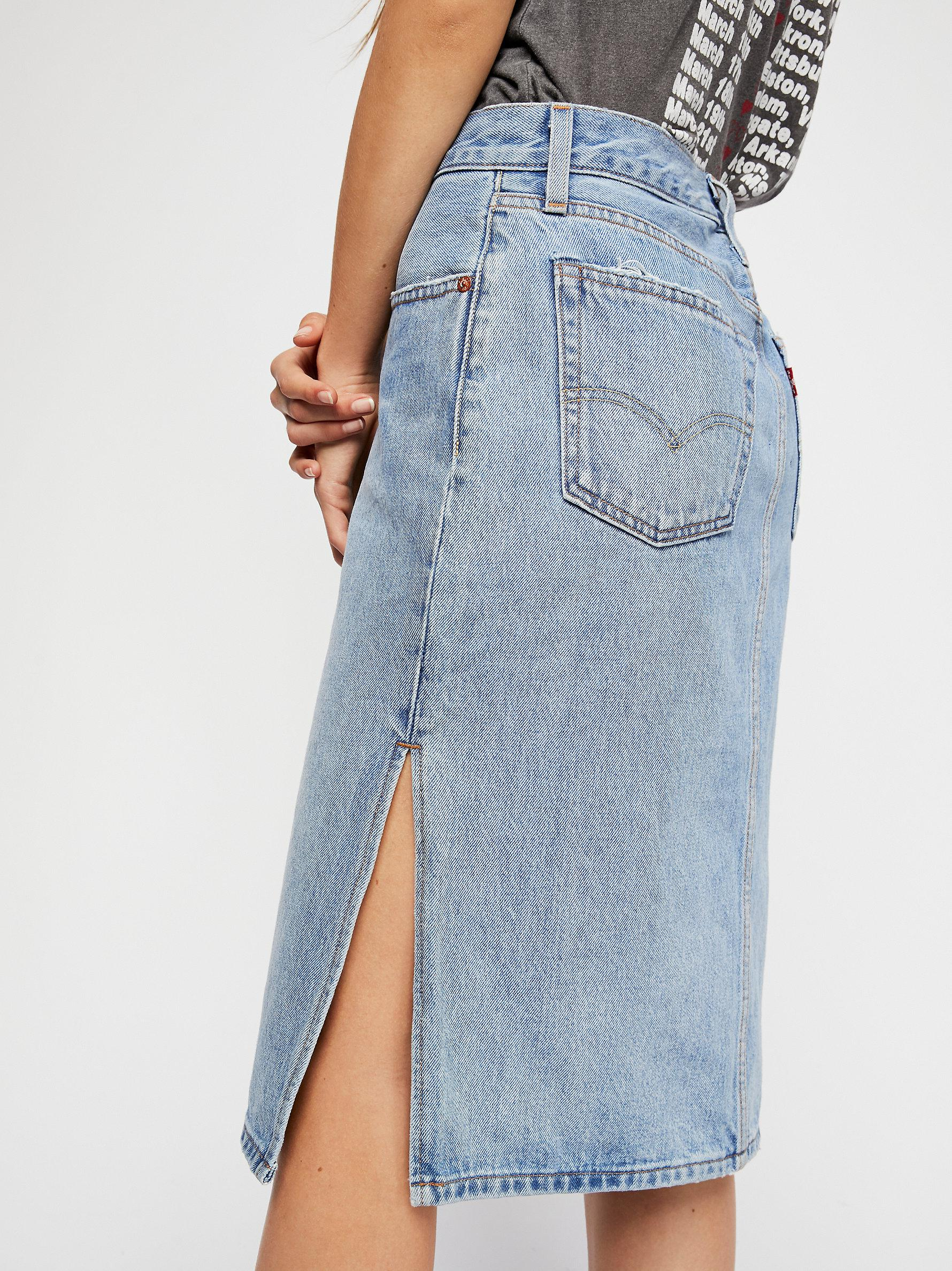 Lyst - Free People Levi s Side Slit Denim Skirt in Blue ca0bdf2f0