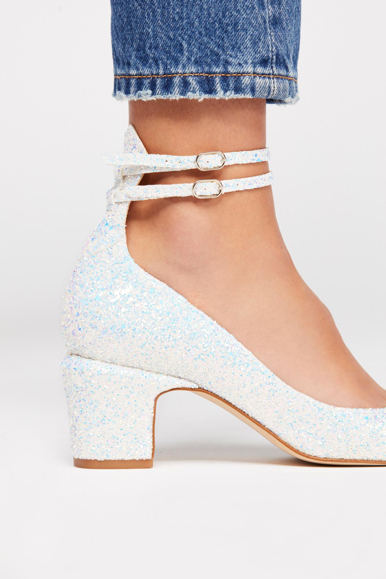 6ad32ef29da Lyst - Free People Glitter Lana Block Heel in White