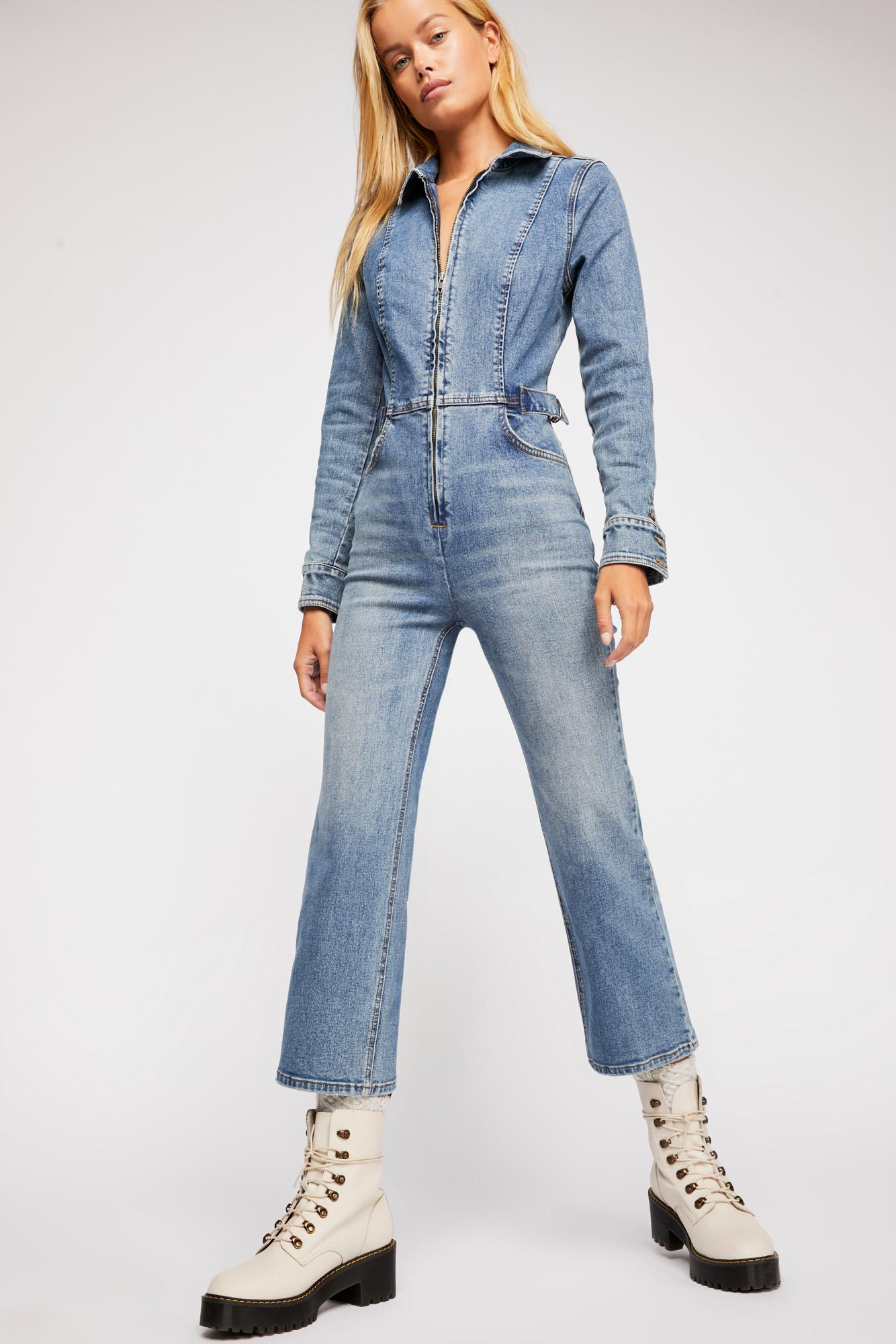 0d25ad0d2f2 Lyst - Free People Take Me Out Flare Jumpsuit in Blue