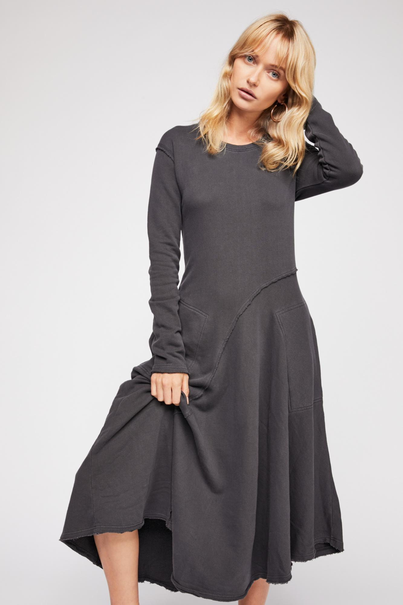 57bb1c9f86 Free People These Days Midi Dress By Fp Beach in Gray - Lyst
