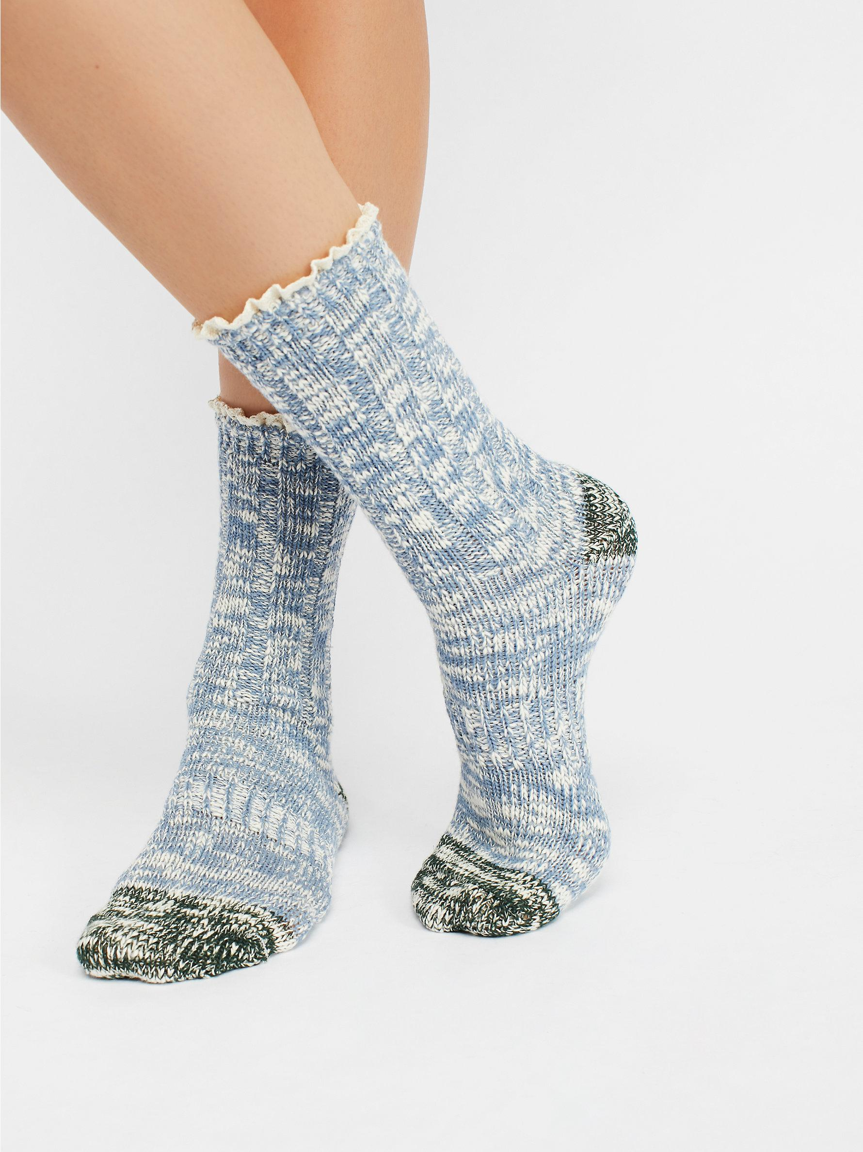 1262aa99e5 Lyst - Free People Melbourne Heathered Crew Socks in Blue